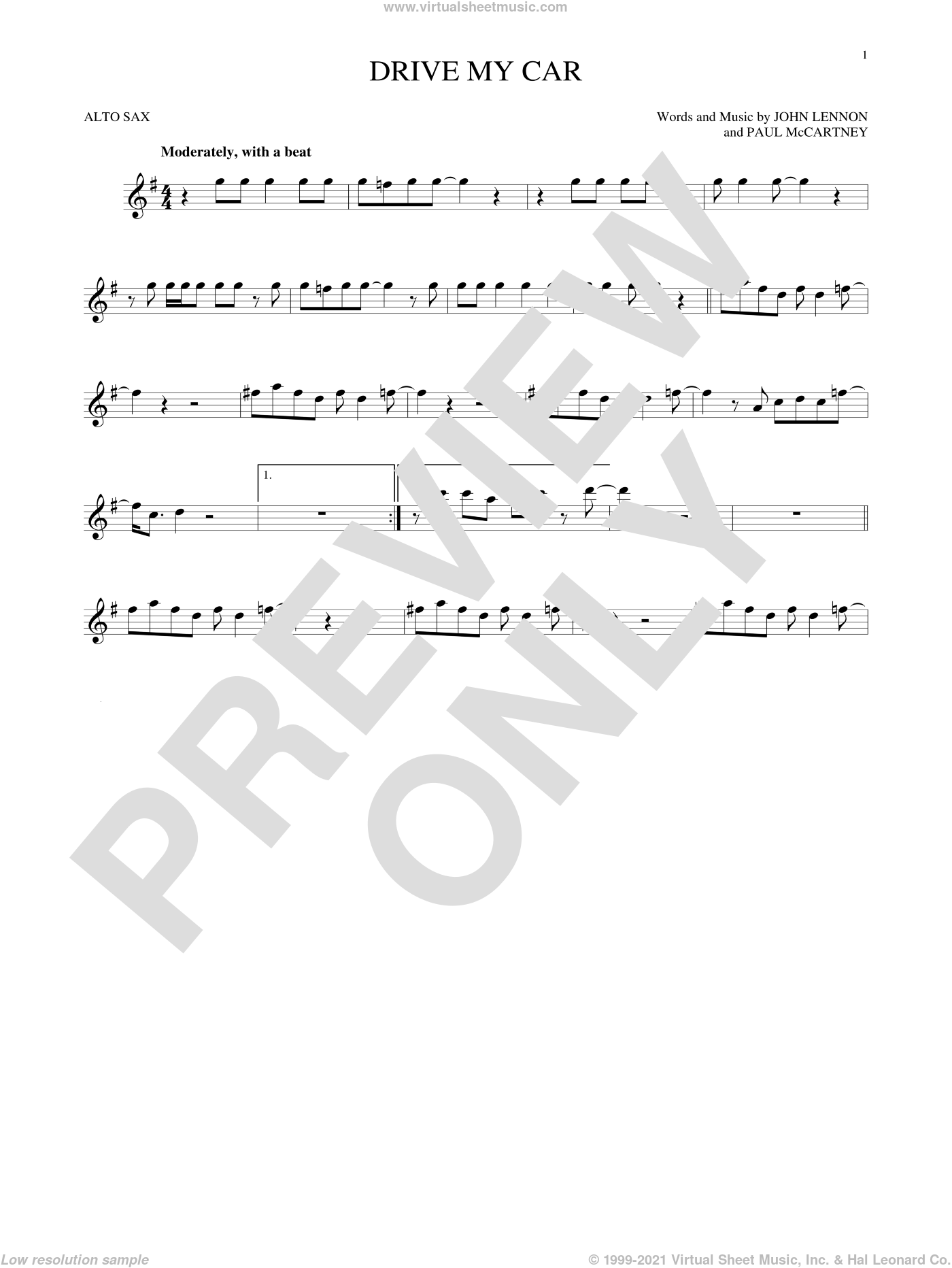 Drive My Car sheet music for alto saxophone solo by The Beatles, John Lennon and Paul McCartney, intermediate skill level