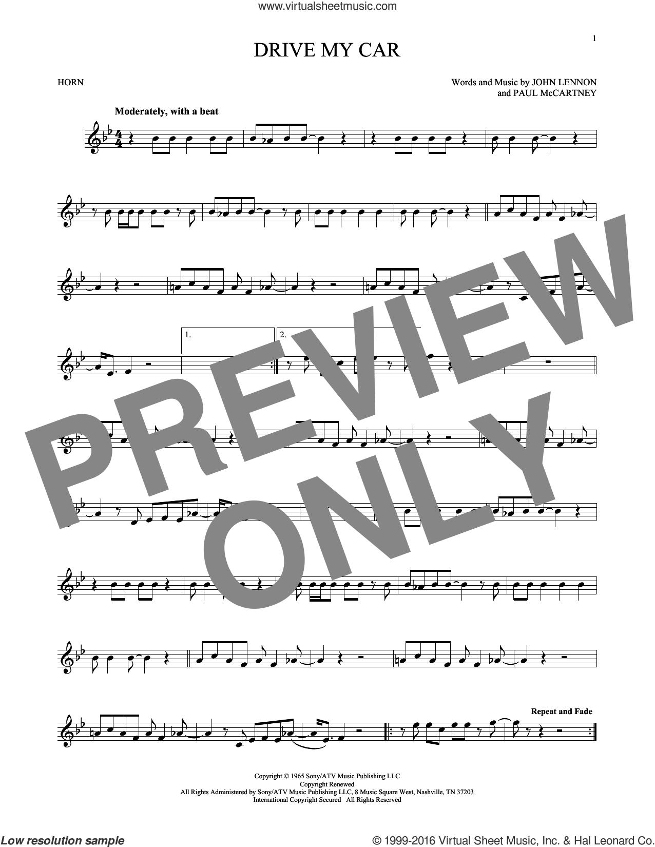 Drive My Car sheet music for horn solo by The Beatles, John Lennon and Paul McCartney, intermediate skill level