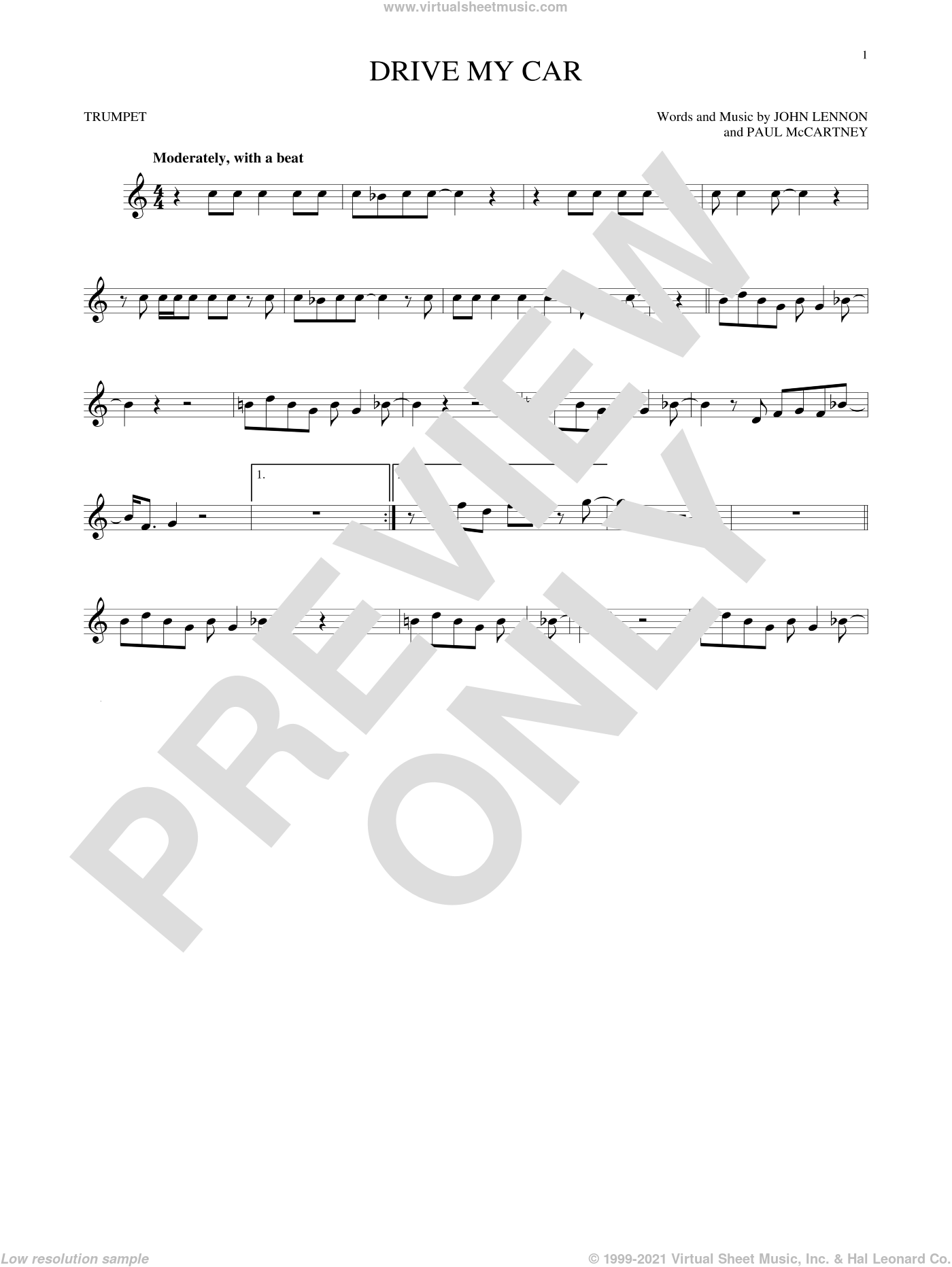 Drive My Car sheet music for trumpet solo by The Beatles, John Lennon and Paul McCartney, intermediate skill level