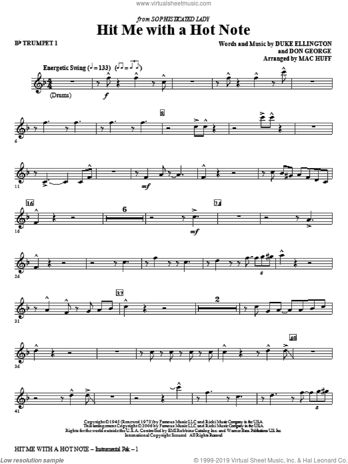 Hit Me With A Hot Note (complete set of parts) sheet music for orchestra/band by Duke Ellington, Don George and Mac Huff, intermediate skill level