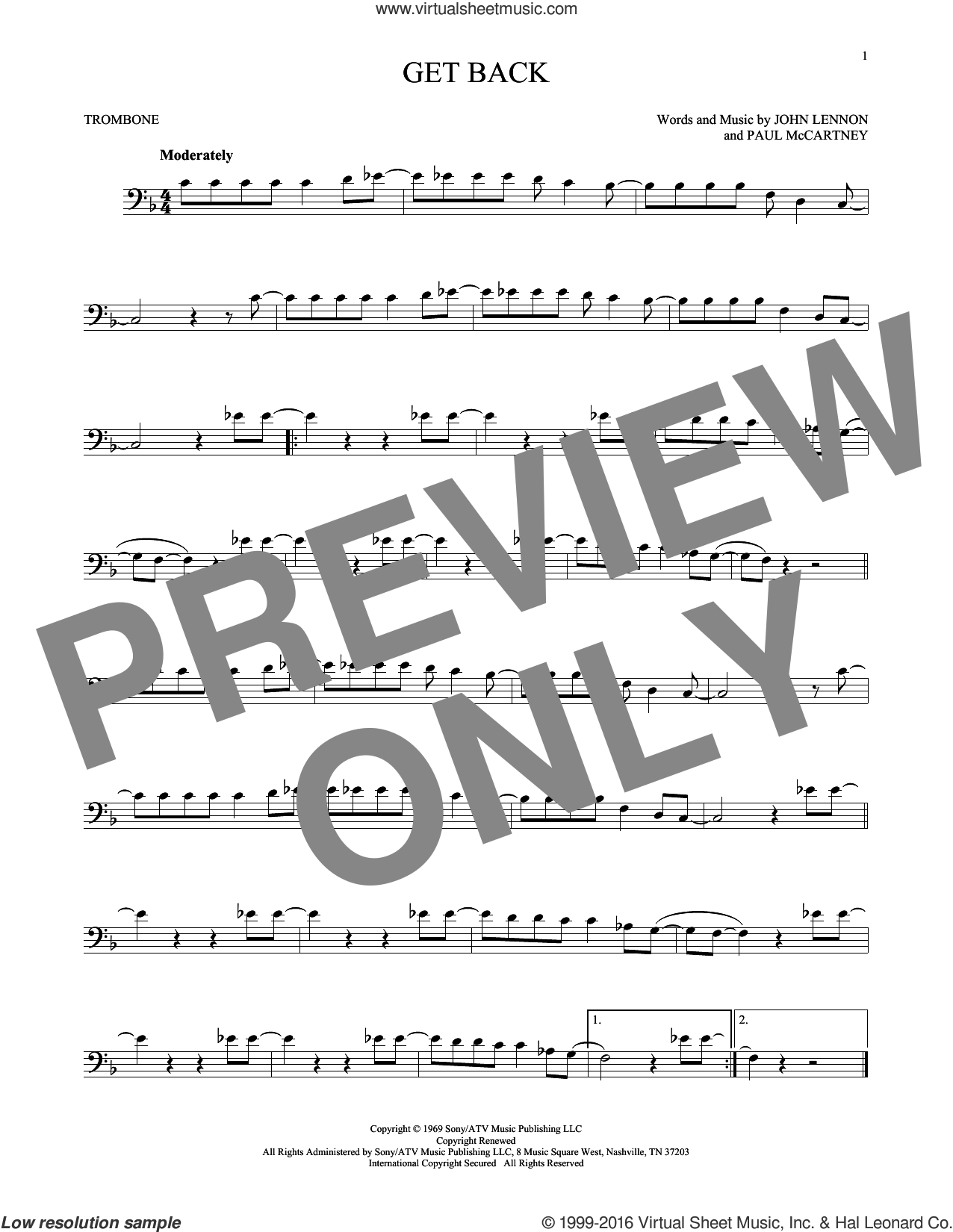 Get Back sheet music for trombone solo by Paul McCartney, The Beatles and John Lennon. Score Image Preview.