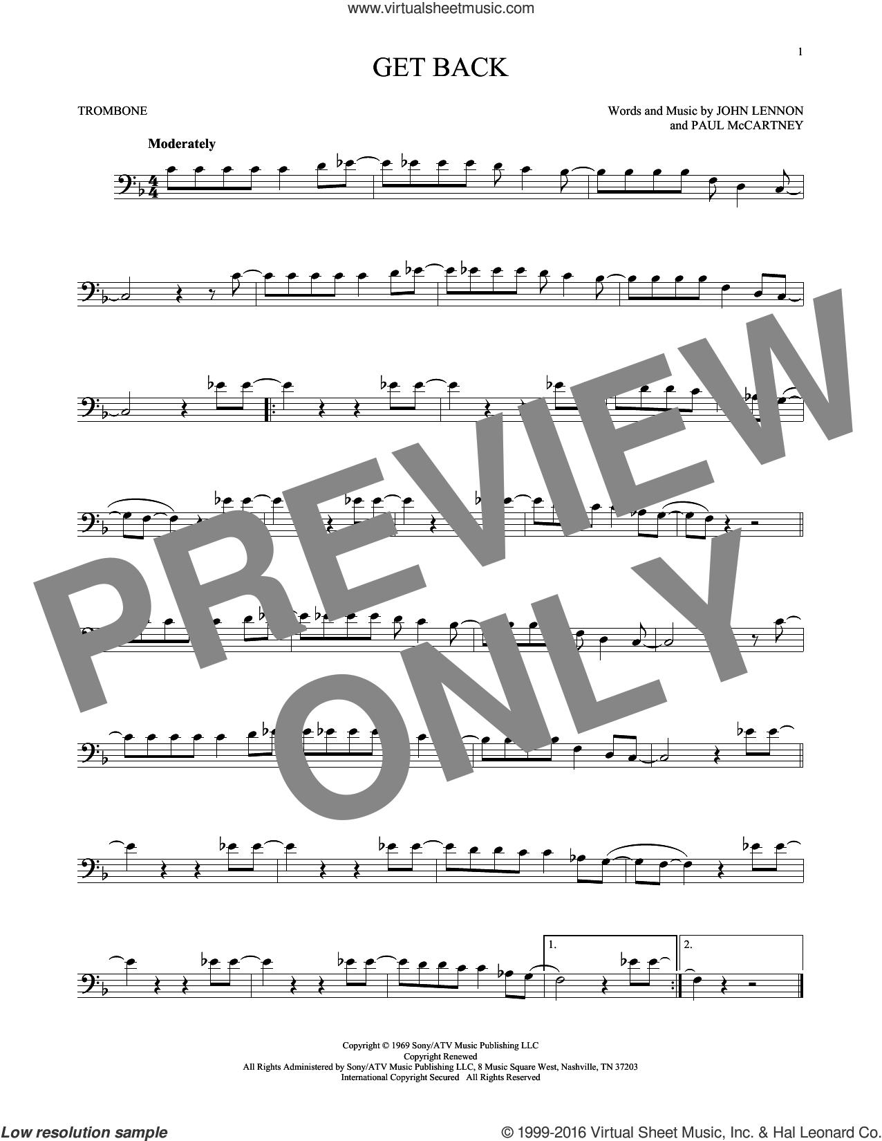 Get Back sheet music for trombone solo by The Beatles, John Lennon and Paul McCartney, intermediate skill level