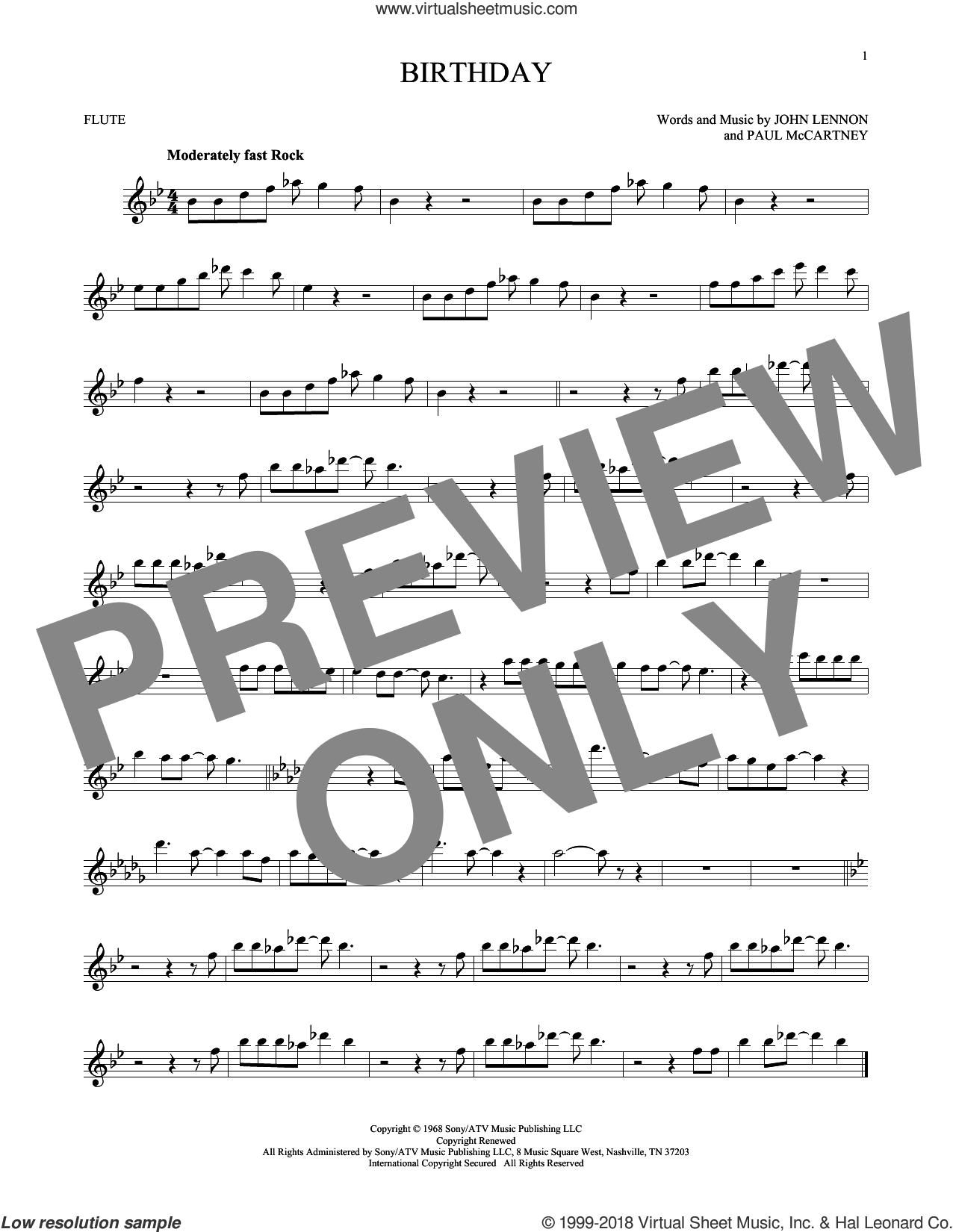 Birthday sheet music for flute solo by The Beatles, John Lennon and Paul McCartney, intermediate skill level