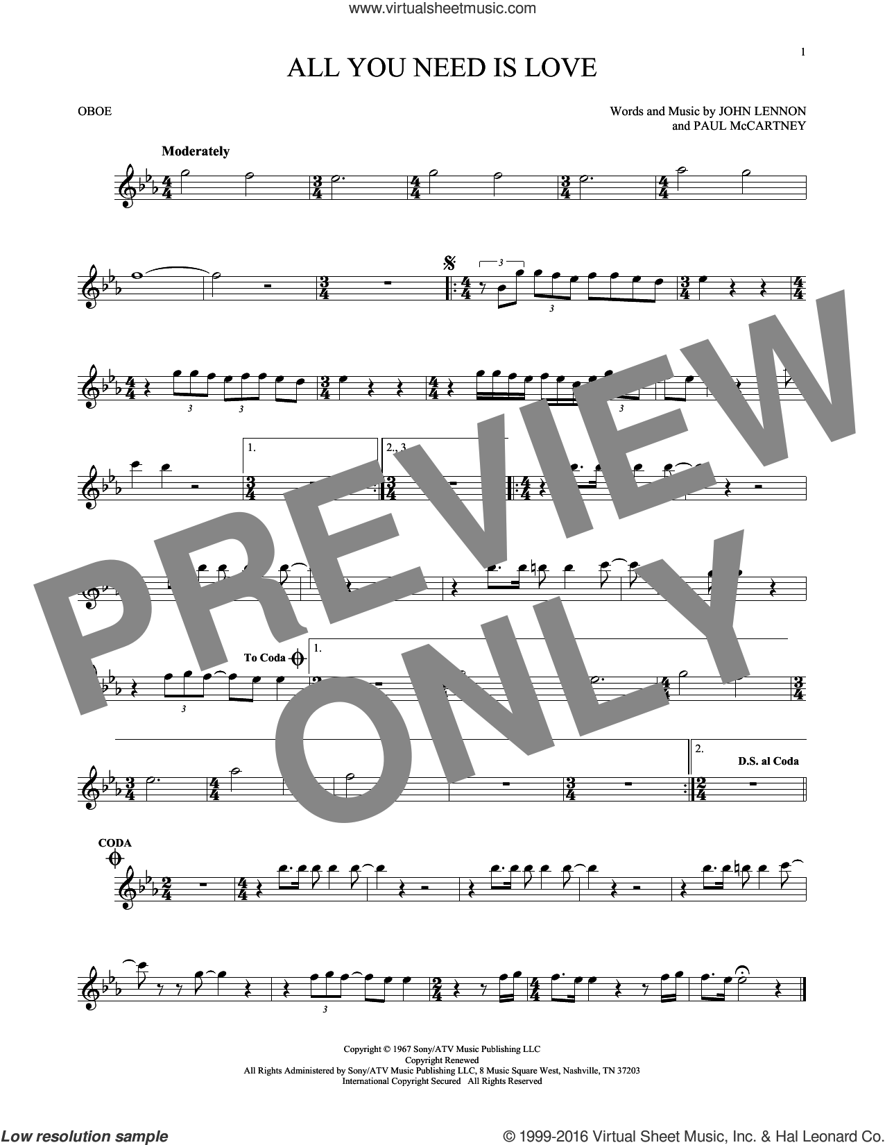 All You Need Is Love sheet music for oboe solo by The Beatles, John Lennon and Paul McCartney, intermediate skill level