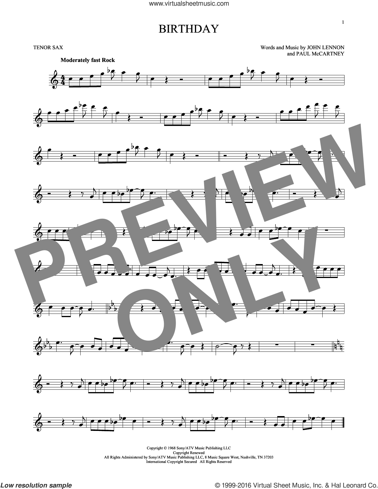 Birthday sheet music for tenor saxophone solo by The Beatles, John Lennon and Paul McCartney, intermediate skill level