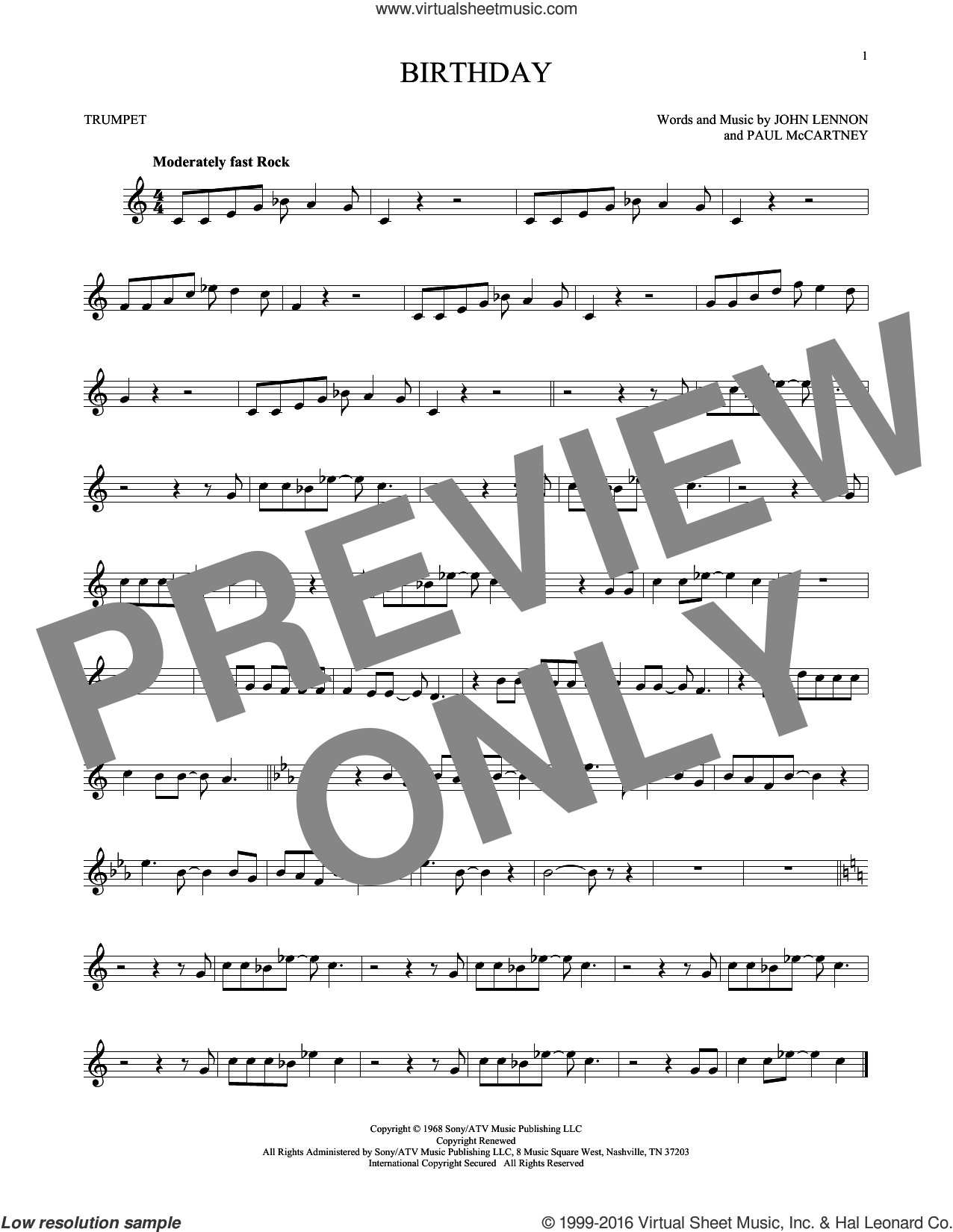 Birthday sheet music for trumpet solo by The Beatles, John Lennon and Paul McCartney, intermediate skill level