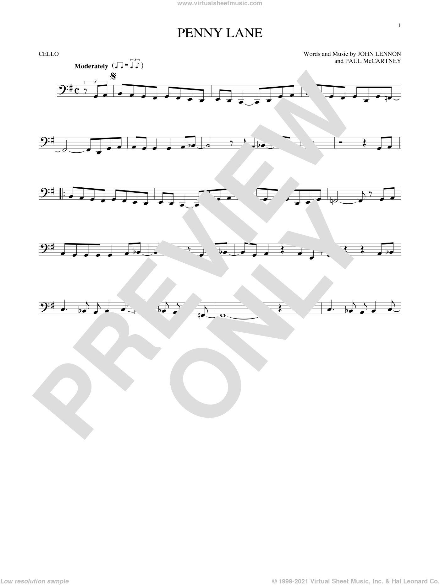 Penny Lane sheet music for cello solo by Paul McCartney, The Beatles and John Lennon. Score Image Preview.
