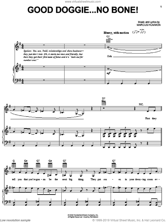 Good Doggie.....No Bone! sheet music for voice, piano or guitar by Marcus Hummon
