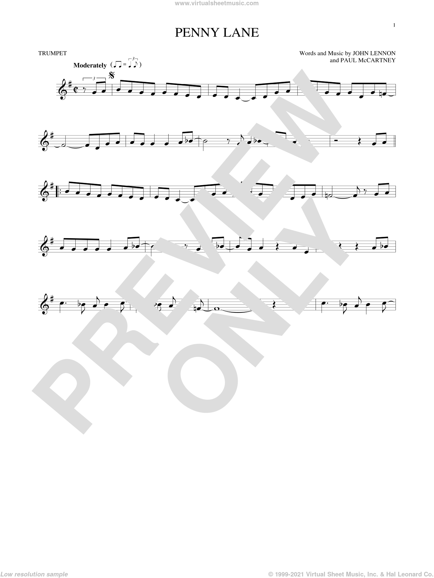 Penny Lane sheet music for trumpet solo by The Beatles, John Lennon and Paul McCartney, intermediate skill level