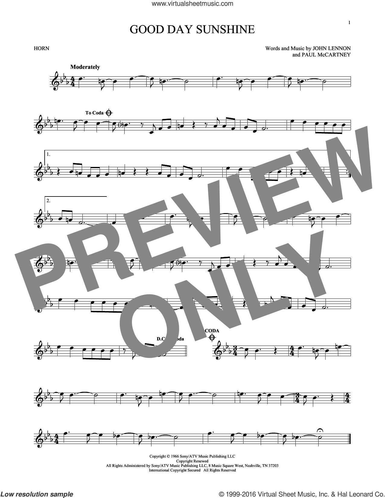 Good Day Sunshine sheet music for horn solo by Paul McCartney, The Beatles and John Lennon. Score Image Preview.