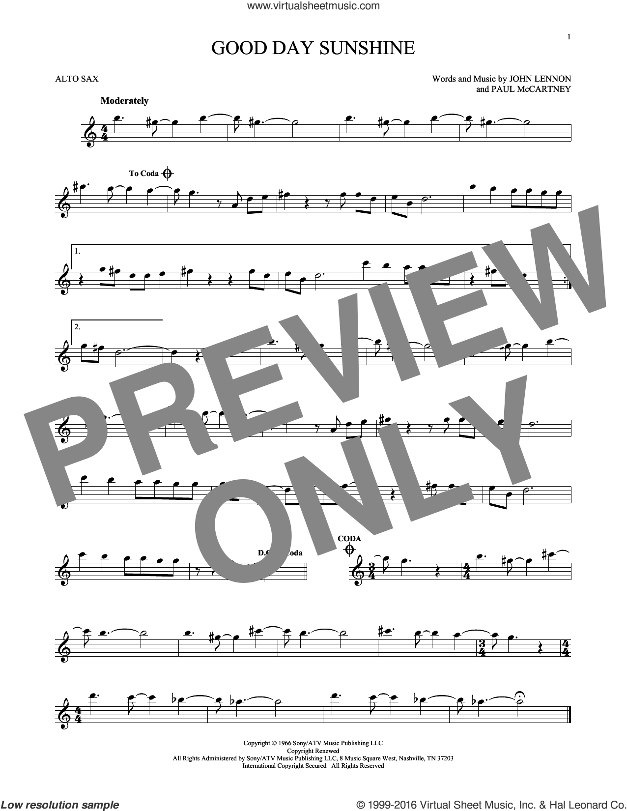 Good Day Sunshine sheet music for alto saxophone solo by The Beatles, John Lennon and Paul McCartney, intermediate skill level