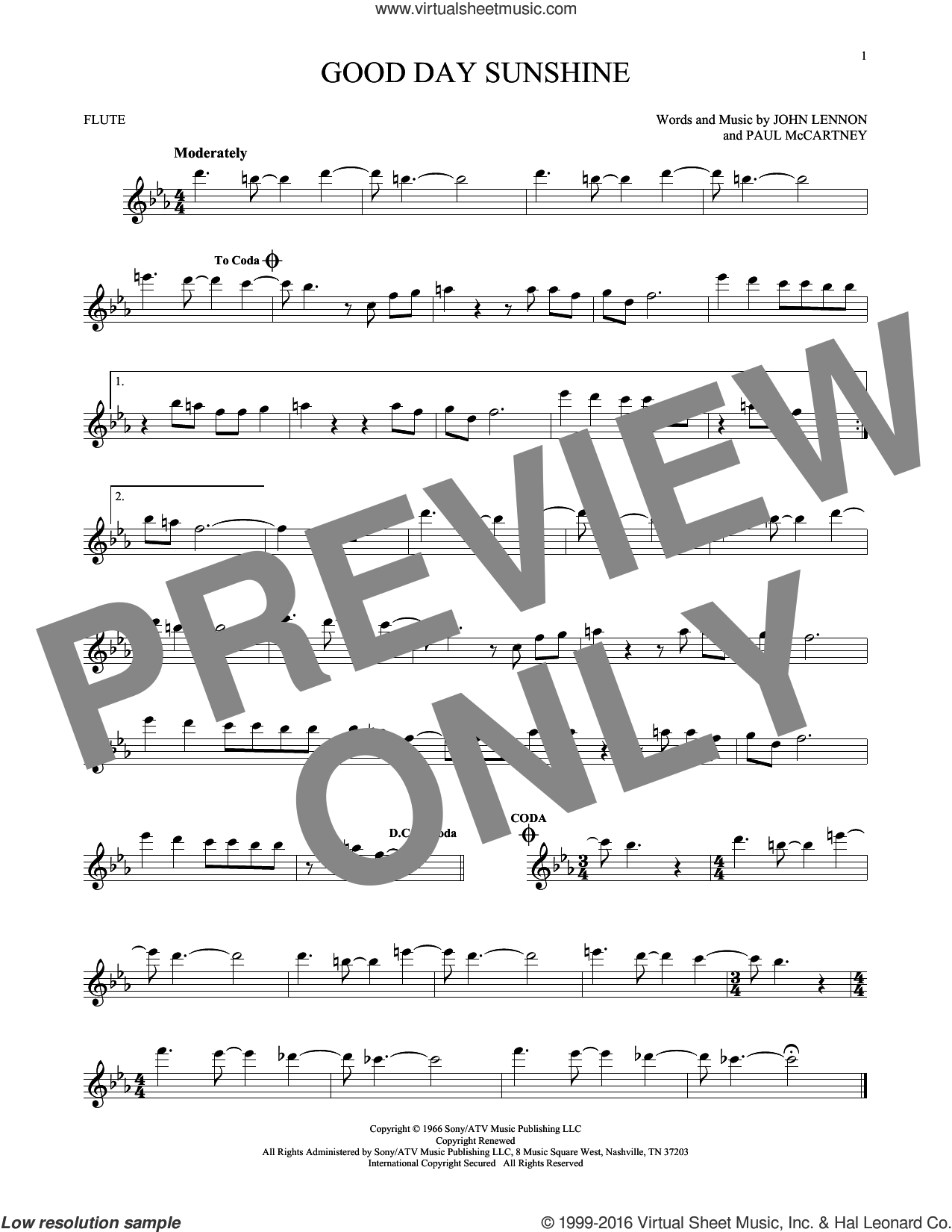 Good Day Sunshine sheet music for flute solo by The Beatles, John Lennon and Paul McCartney, intermediate skill level