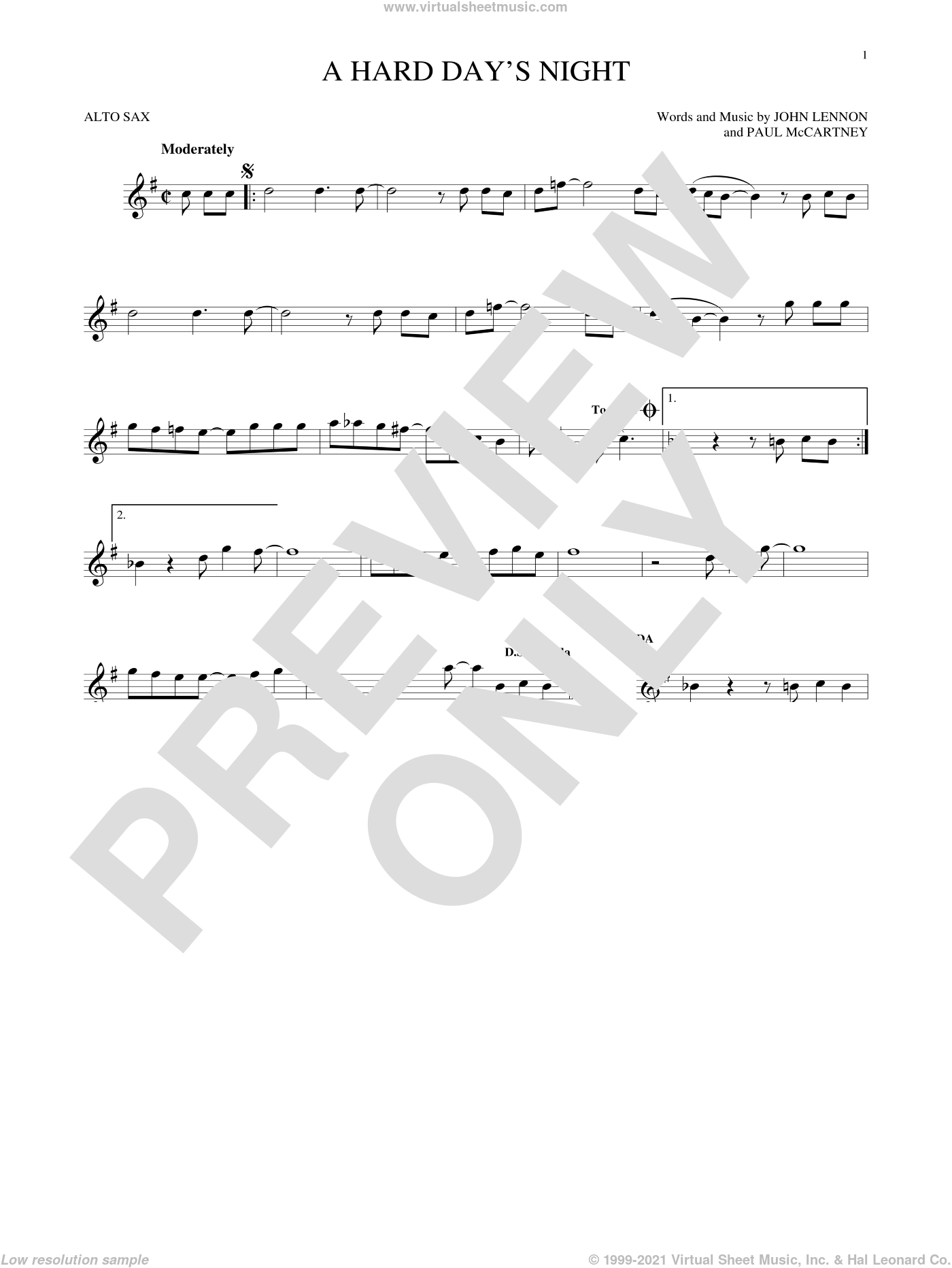 A Hard Day's Night sheet music for alto saxophone solo by The Beatles, John Lennon and Paul McCartney, intermediate skill level