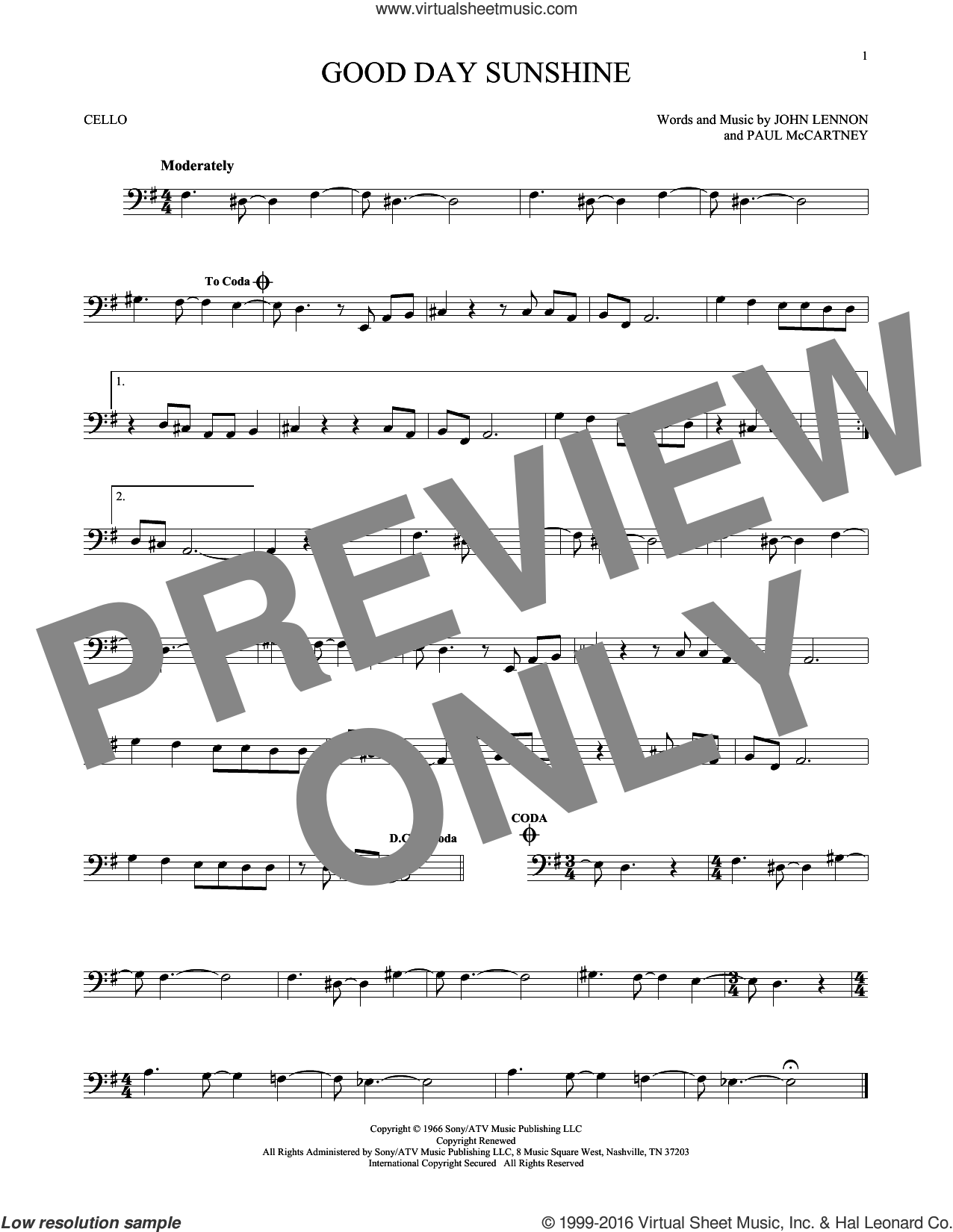 Good Day Sunshine sheet music for cello solo by The Beatles, John Lennon and Paul McCartney, intermediate. Score Image Preview.