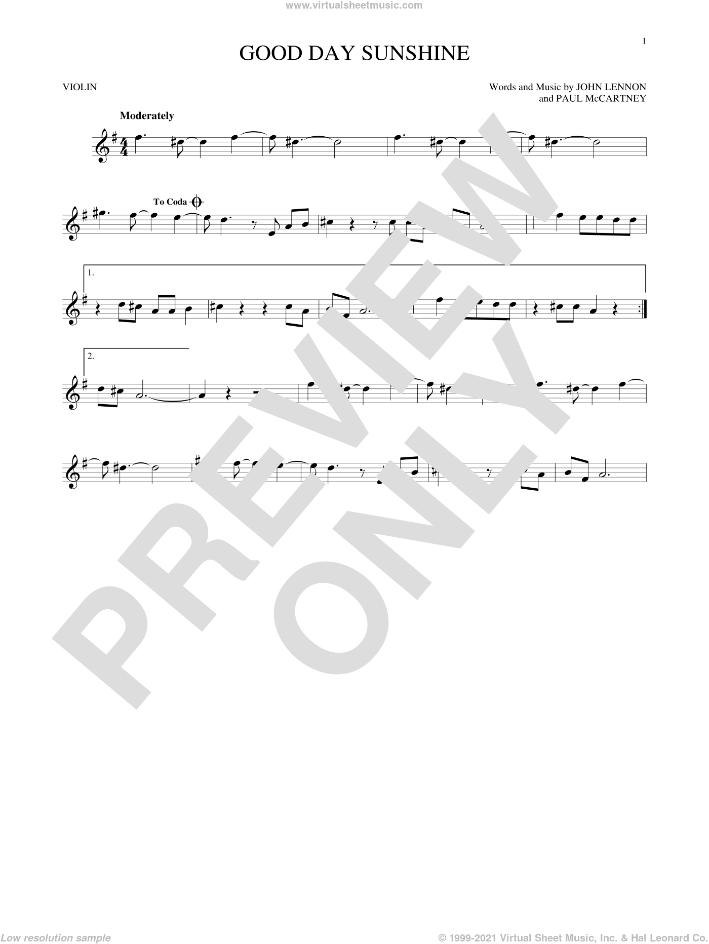 Good Day Sunshine sheet music for violin solo by Paul McCartney, The Beatles and John Lennon. Score Image Preview.