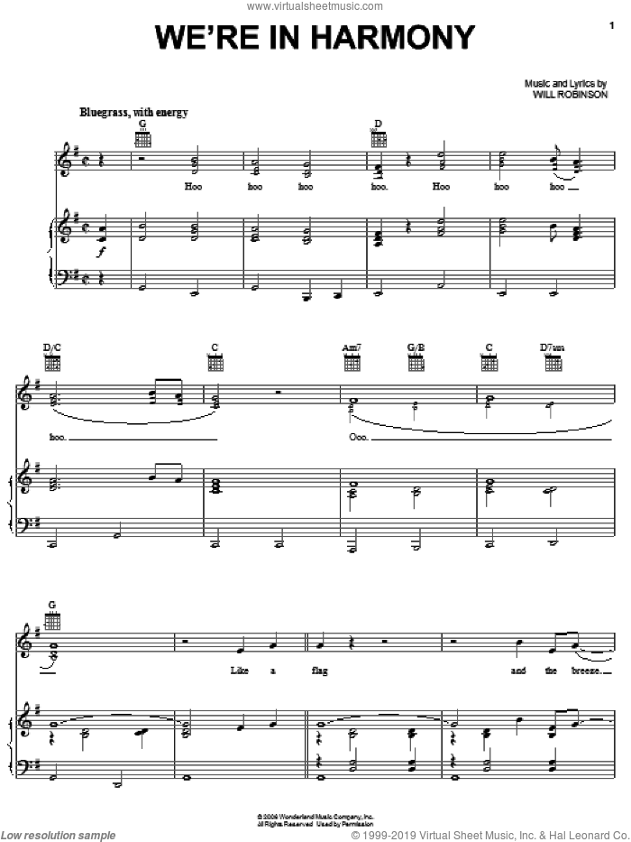 We're In Harmony sheet music for voice, piano or guitar by Reba McEntire, The Fox And The Hound 2 (Movie) and Will Robinson, intermediate skill level