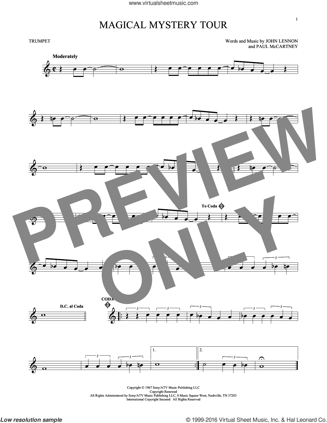 Magical Mystery Tour sheet music for trumpet solo by The Beatles, John Lennon and Paul McCartney, intermediate skill level