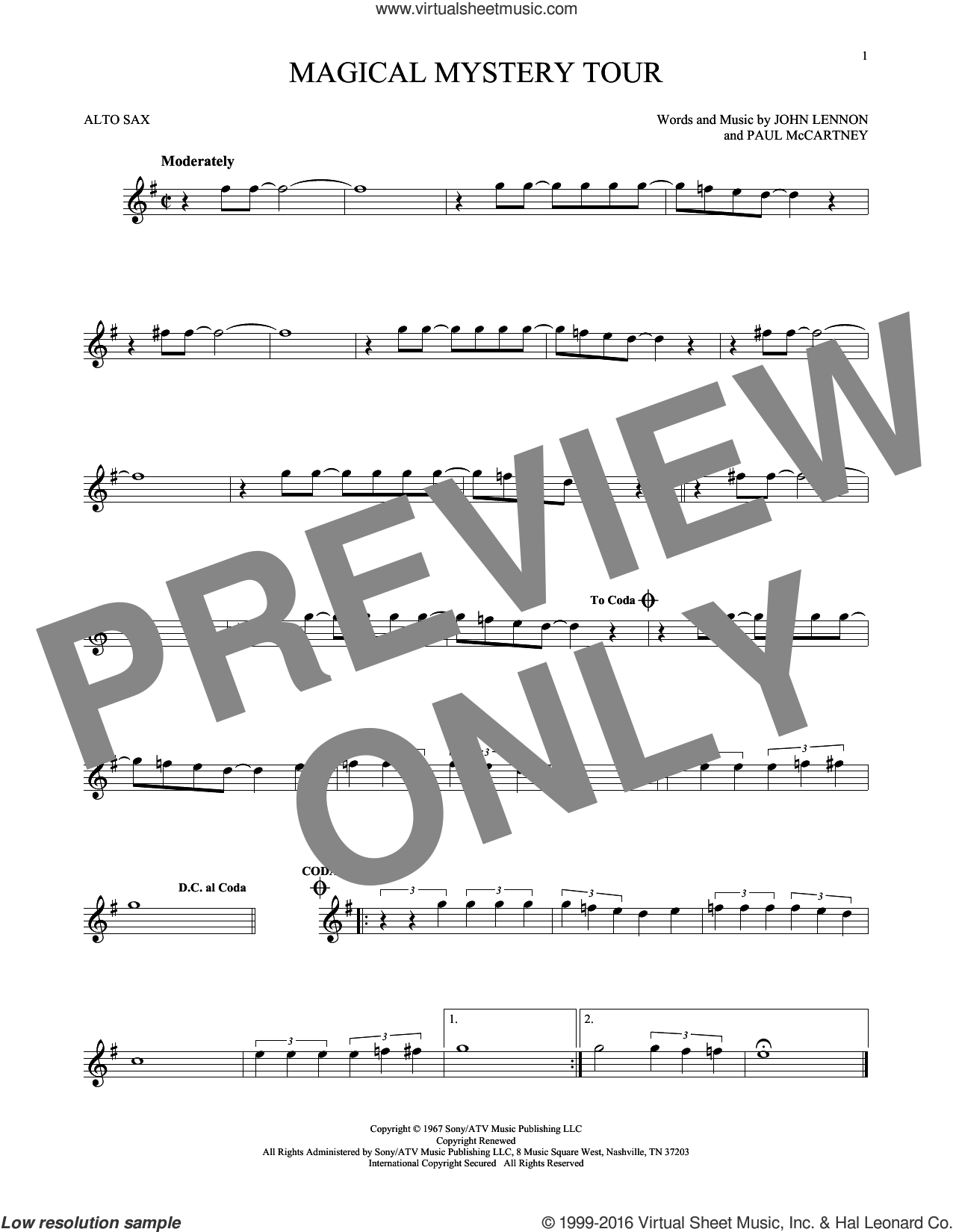 Magical Mystery Tour sheet music for alto saxophone solo by The Beatles, John Lennon and Paul McCartney, intermediate alto saxophone. Score Image Preview.