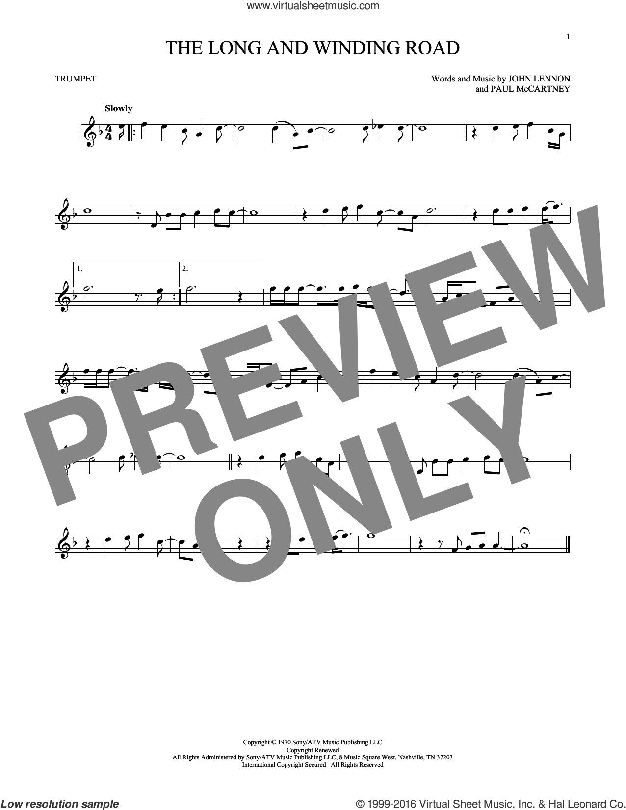 The Long And Winding Road sheet music for trumpet solo by The Beatles, John Lennon and Paul McCartney, intermediate. Score Image Preview.