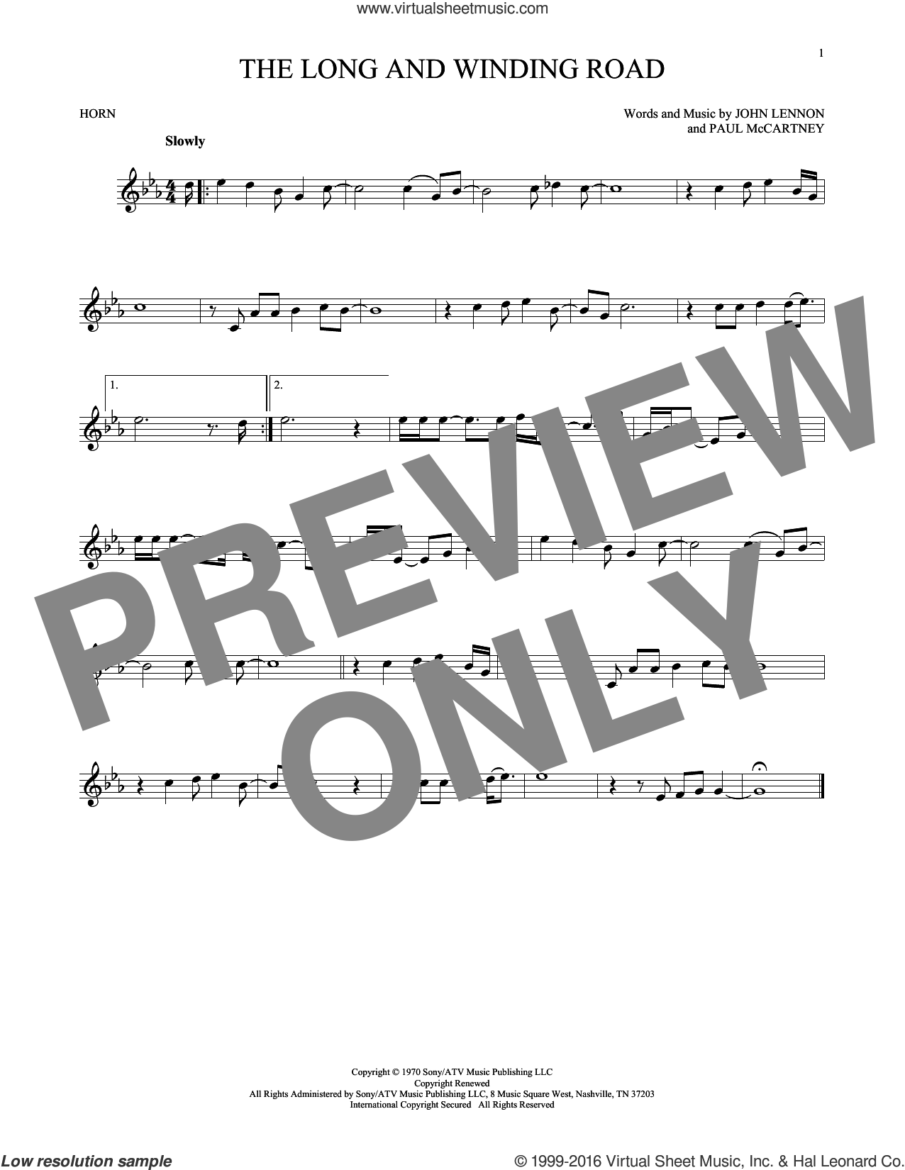 The Long And Winding Road sheet music for horn solo by The Beatles, John Lennon and Paul McCartney, intermediate horn. Score Image Preview.
