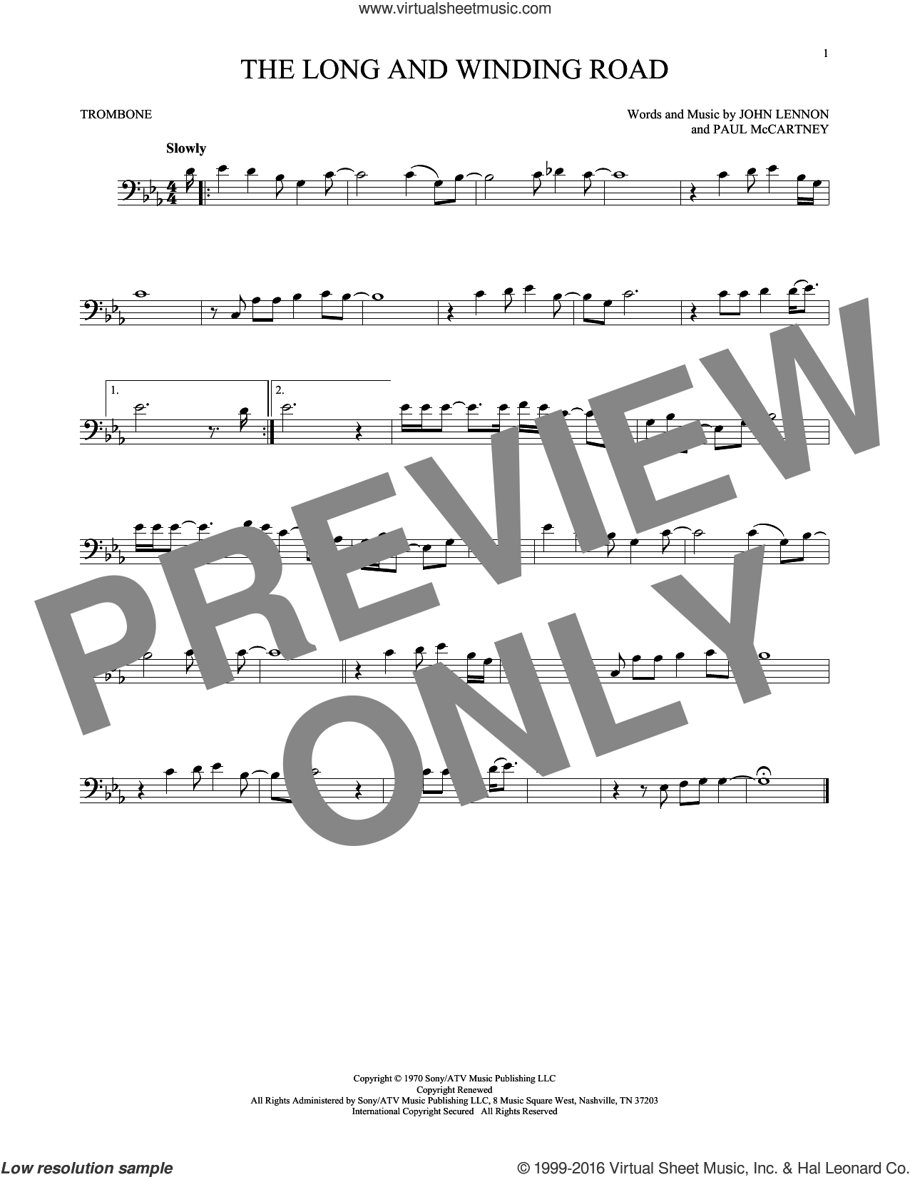 The Long And Winding Road sheet music for trombone solo by The Beatles, John Lennon and Paul McCartney. Score Image Preview.