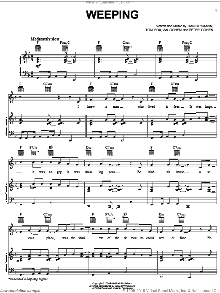 Weeping sheet music for voice, piano or guitar by Josh Groban, Dan Heymann, Ian Cohen, Peter Cohen and Tom Fox, intermediate skill level
