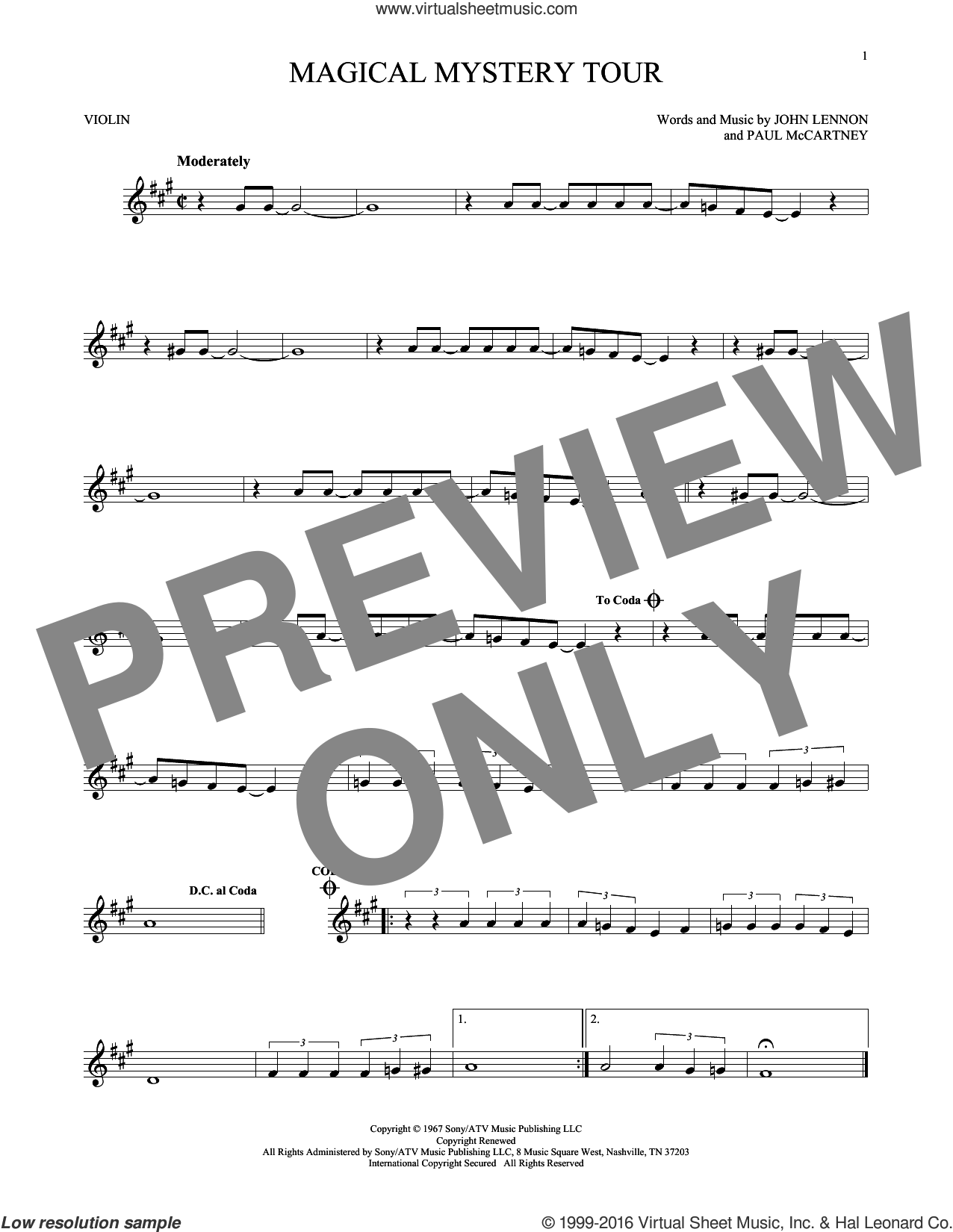 Magical Mystery Tour sheet music for violin solo by The Beatles, John Lennon and Paul McCartney, intermediate skill level