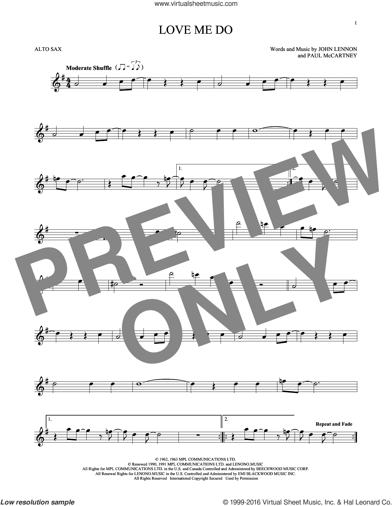Love Me Do sheet music for alto saxophone solo by The Beatles, John Lennon and Paul McCartney, intermediate. Score Image Preview.