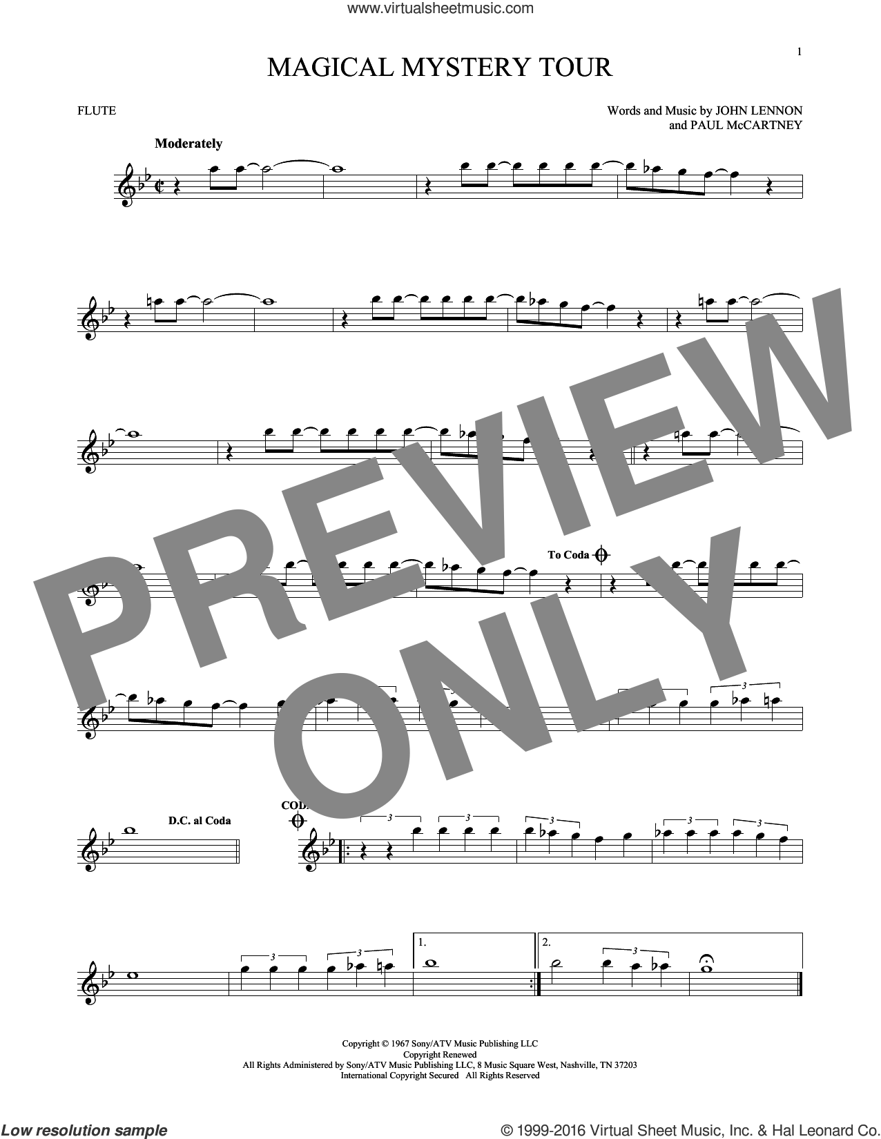 Magical Mystery Tour sheet music for flute solo by The Beatles, John Lennon and Paul McCartney, intermediate skill level