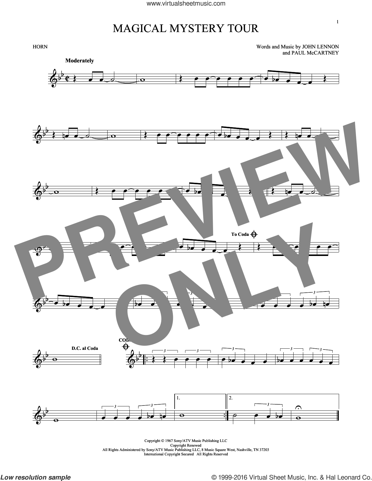 Magical Mystery Tour sheet music for horn solo by The Beatles, John Lennon and Paul McCartney, intermediate skill level