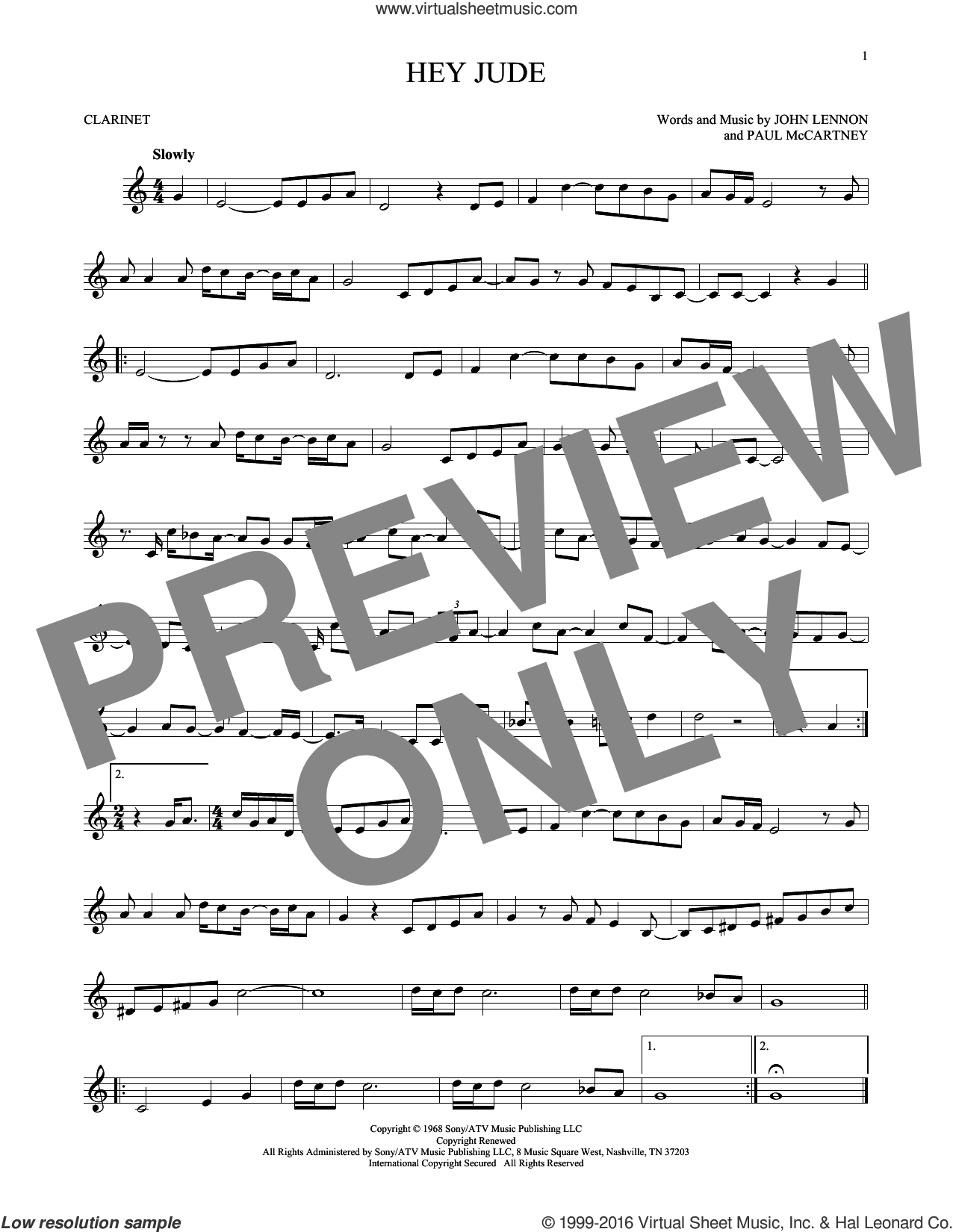 Hey Jude sheet music for clarinet solo by Paul McCartney, The Beatles and John Lennon. Score Image Preview.