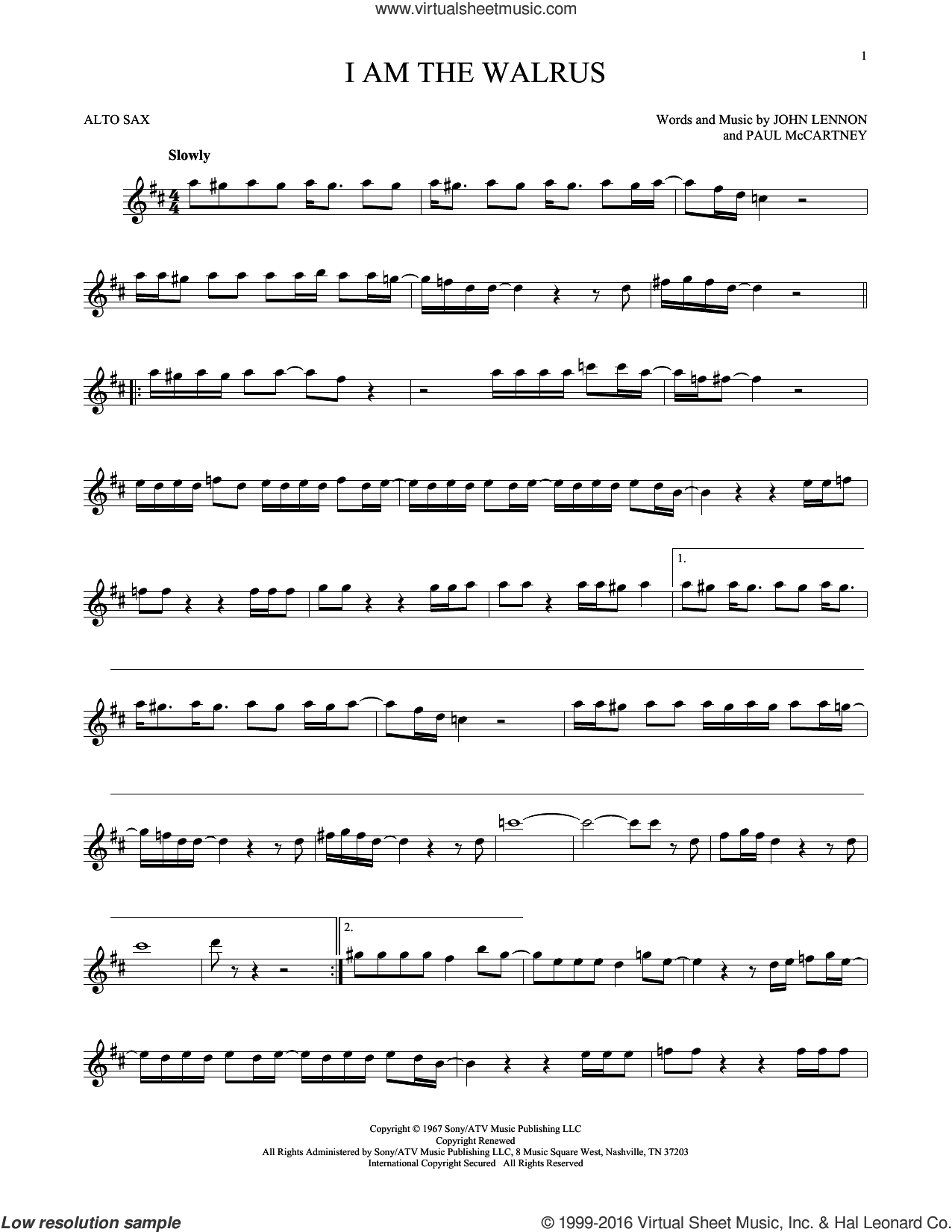 I Am The Walrus sheet music for alto saxophone solo by The Beatles, John Lennon and Paul McCartney, intermediate skill level