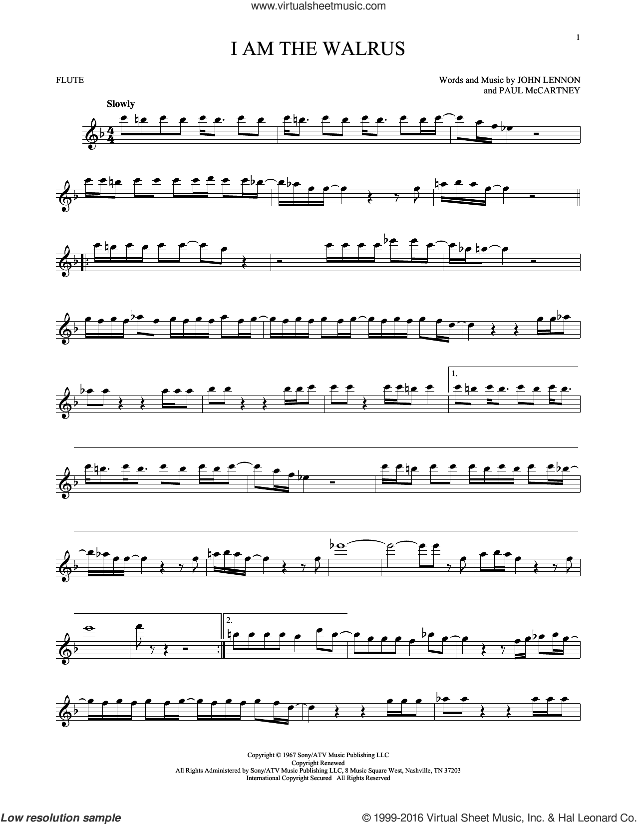 I Am The Walrus sheet music for flute solo by Paul McCartney, The Beatles and John Lennon. Score Image Preview.