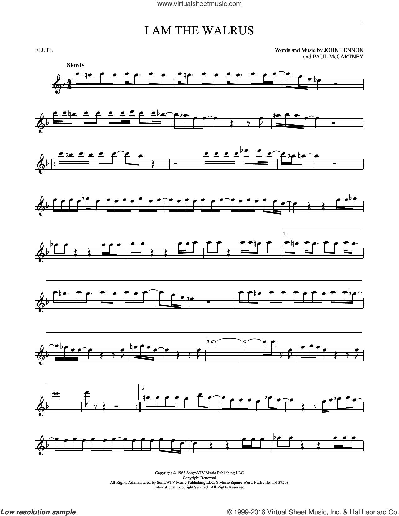 I Am The Walrus sheet music for flute solo by The Beatles, John Lennon and Paul McCartney, intermediate skill level
