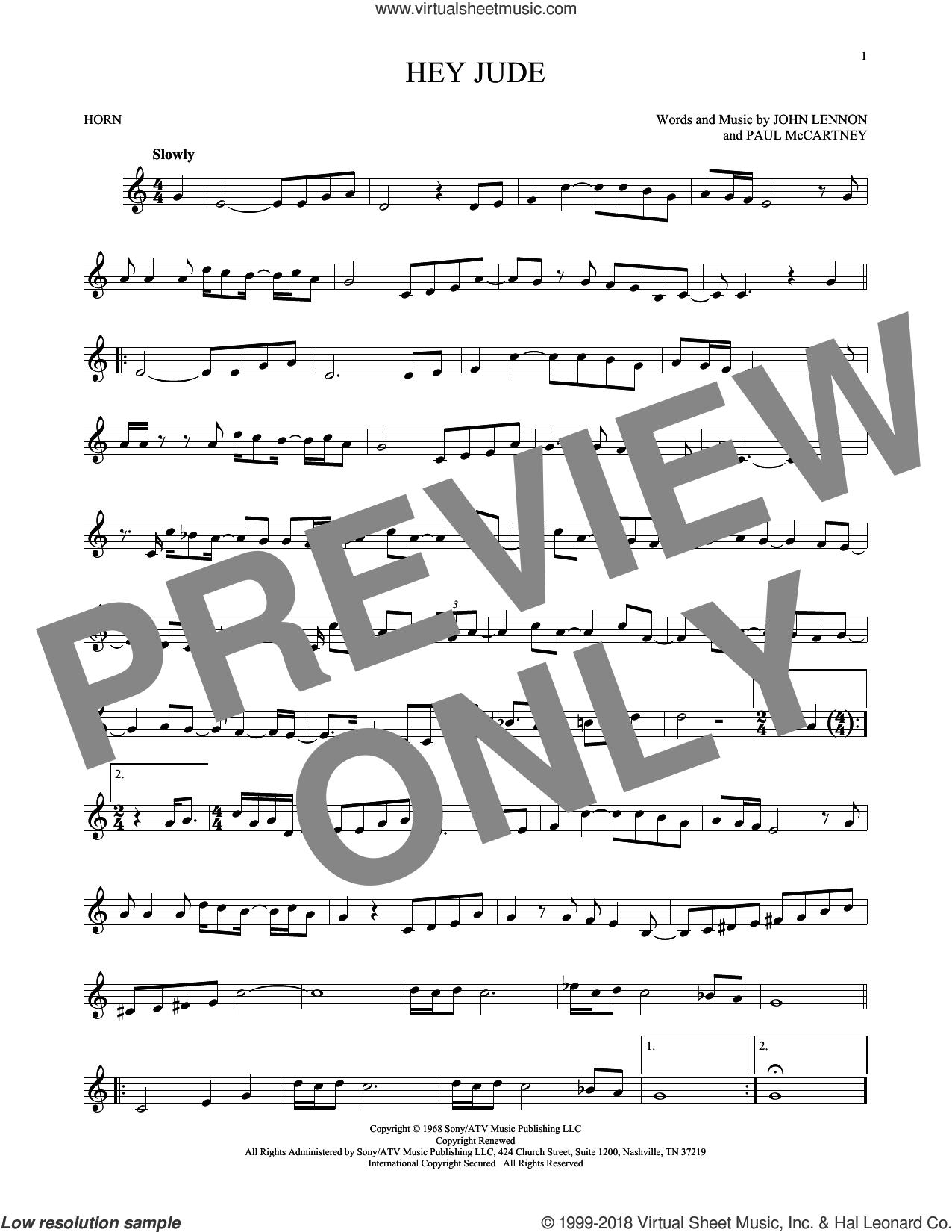 Hey Jude sheet music for horn solo by The Beatles, John Lennon and Paul McCartney, intermediate skill level