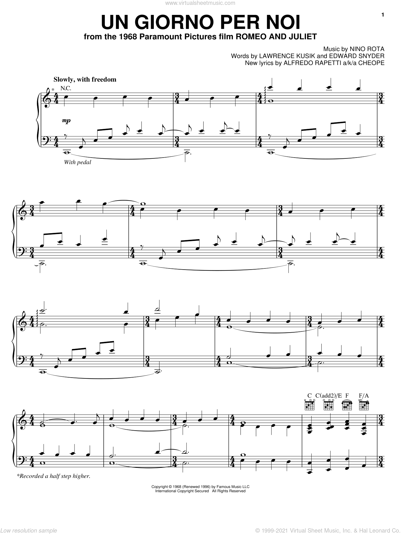 Un Giorno Per Noi sheet music for voice, piano or guitar by Josh Groban and Nino Rota, intermediate voice, piano or guitar. Score Image Preview.