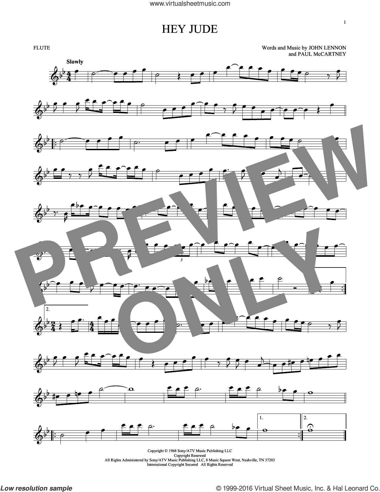 Hey Jude sheet music for flute solo by Paul McCartney, The Beatles and John Lennon. Score Image Preview.