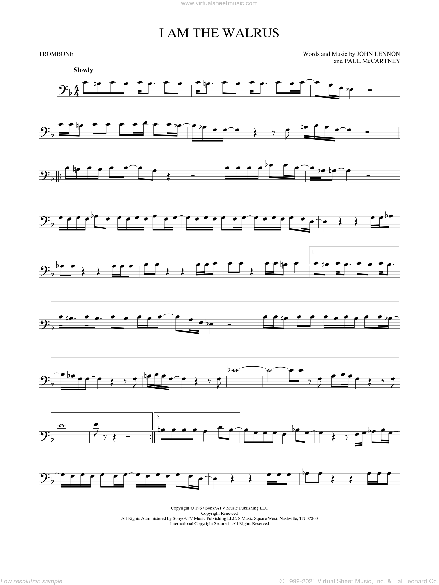 I Am The Walrus sheet music for trombone solo by The Beatles, John Lennon and Paul McCartney, intermediate skill level
