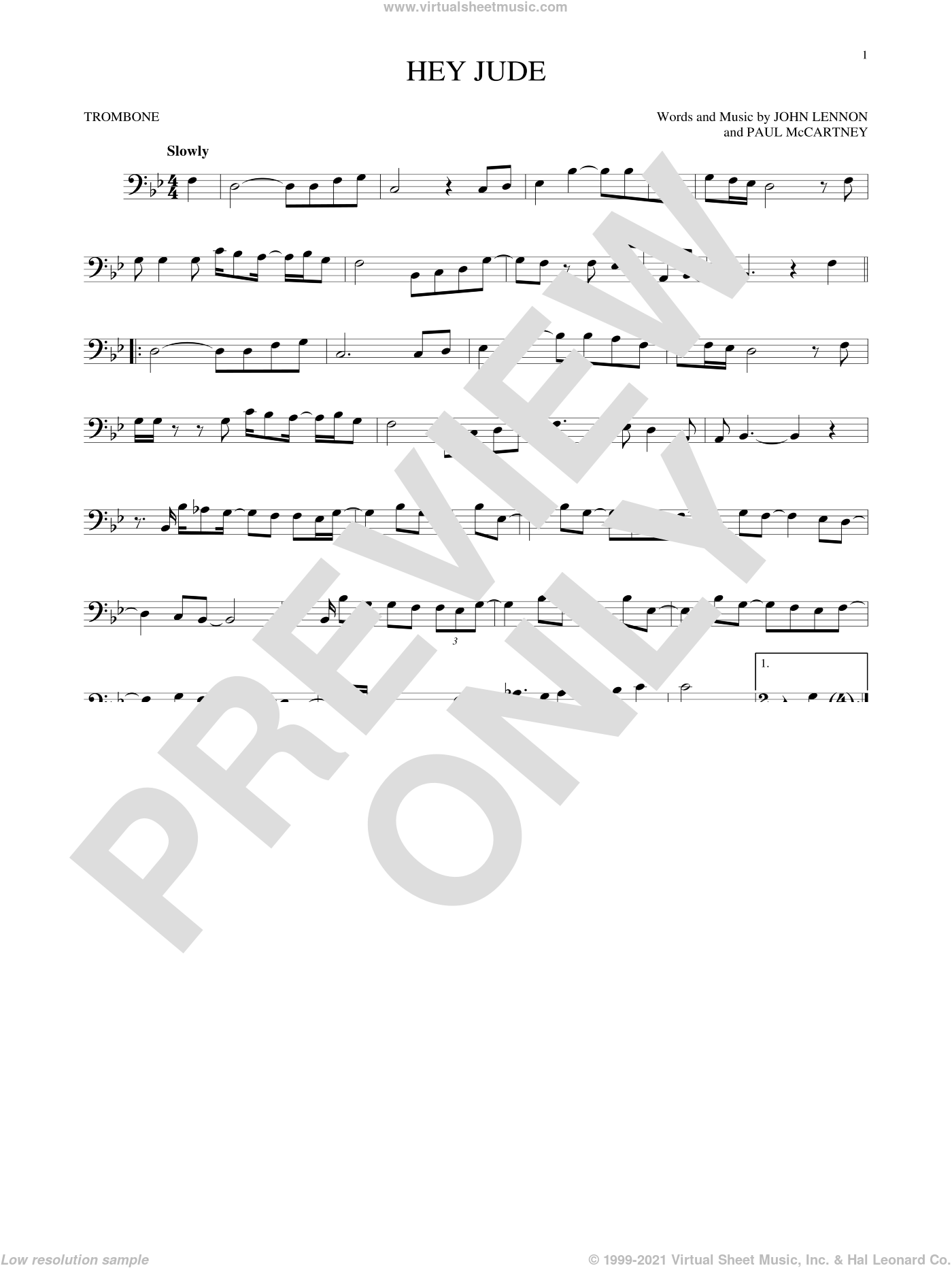 Hey Jude sheet music for trombone solo by Paul McCartney, The Beatles and John Lennon. Score Image Preview.