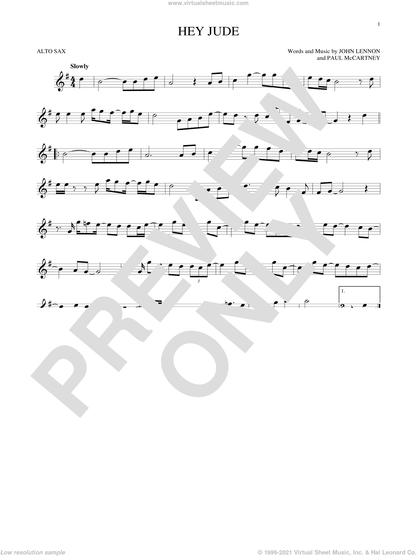 Hey Jude sheet music for alto saxophone solo by The Beatles, John Lennon and Paul McCartney, intermediate. Score Image Preview.