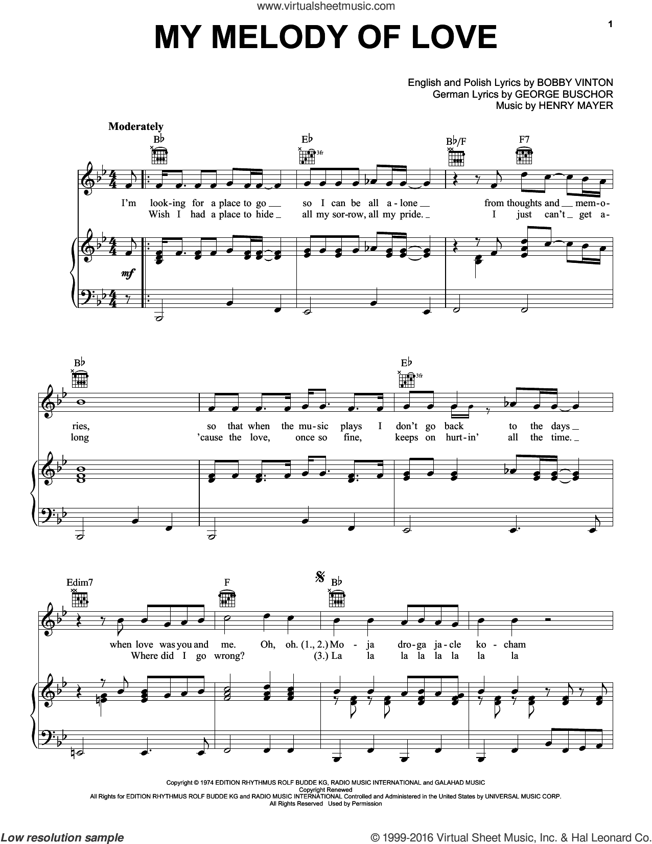 My Melody Of Love sheet music for voice, piano or guitar by Bobby Vinton and Henry Mayer. Score Image Preview.