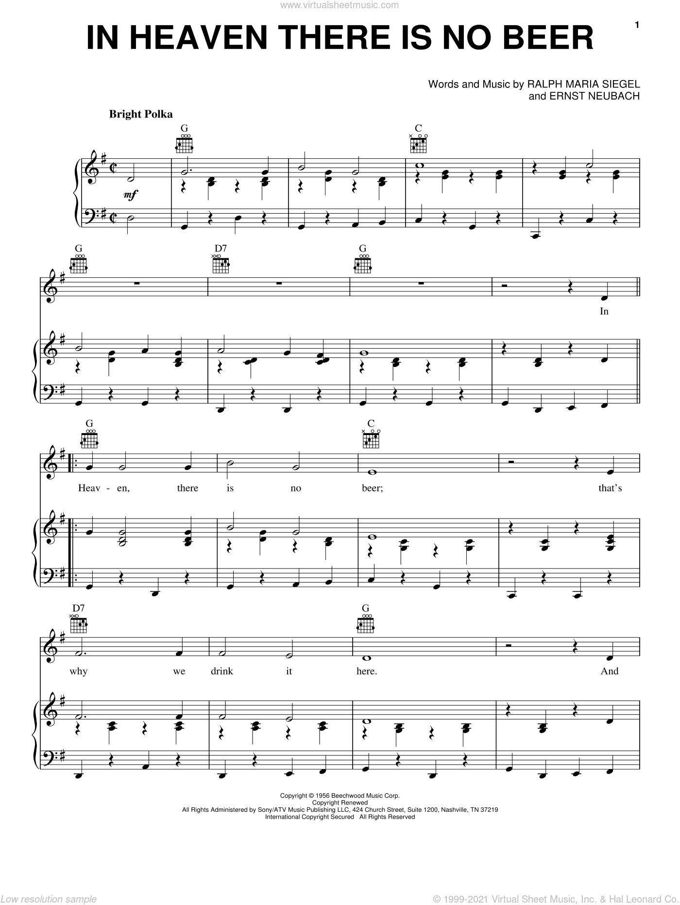In Heaven There Is No Beer sheet music for voice, piano or guitar by Ernst Neubach and Ralph Maria Siegel, intermediate