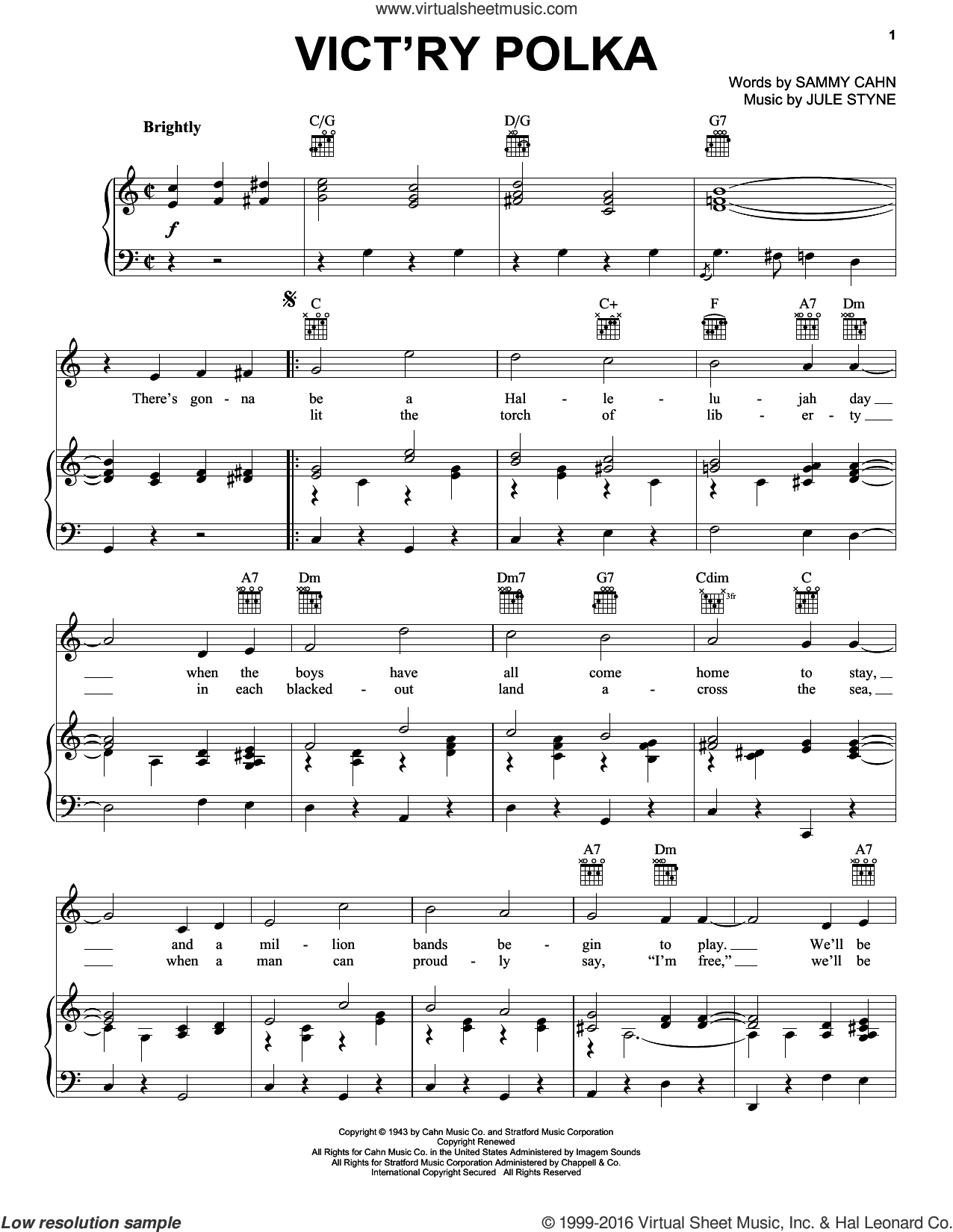 Vict'ry Polka sheet music for voice, piano or guitar by Sammy Cahn and Jule Styne. Score Image Preview.