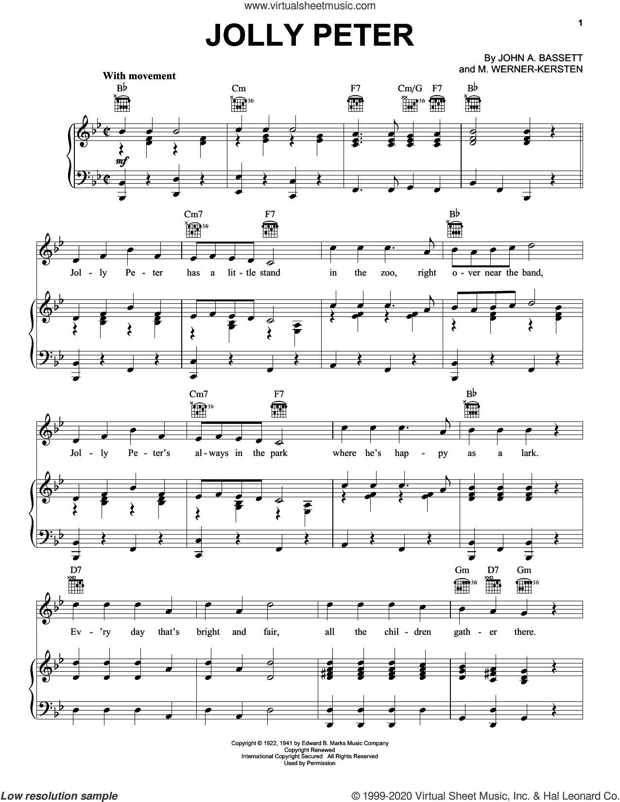 Jolly Peter sheet music for voice, piano or guitar by John A. Bassett and M. Werner - Kersten, intermediate skill level