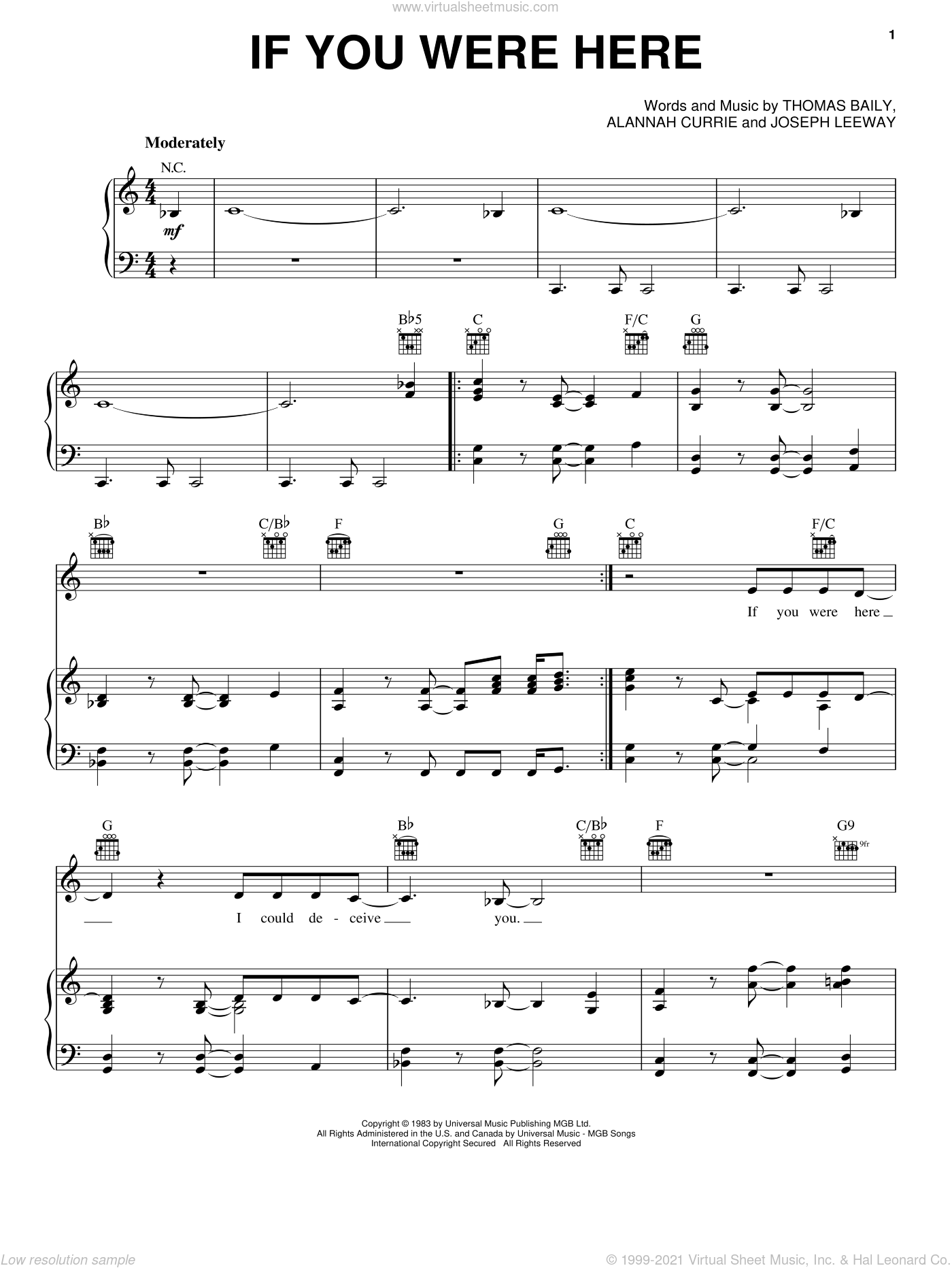 If You Were Here sheet music for voice, piano or guitar by Thomas Baily. Score Image Preview.