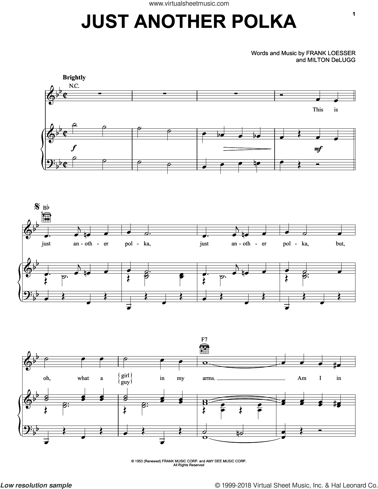 Just Another Polka sheet music for voice, piano or guitar by Frank Loesser and Milton DeLugg, intermediate skill level