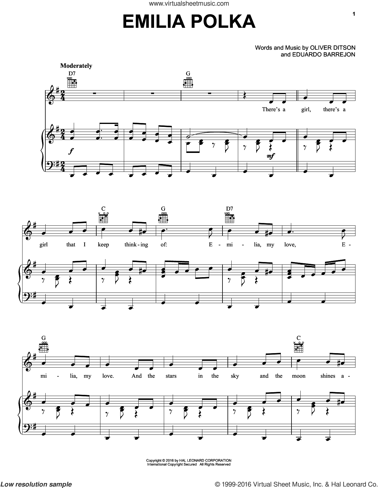Emilia Polka sheet music for voice, piano or guitar by Oliver Ditson. Score Image Preview.