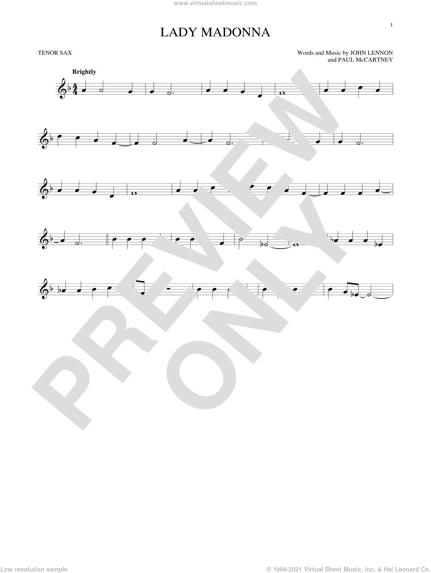 Lady Madonna sheet music for tenor saxophone solo by Paul McCartney, The Beatles and John Lennon. Score Image Preview.