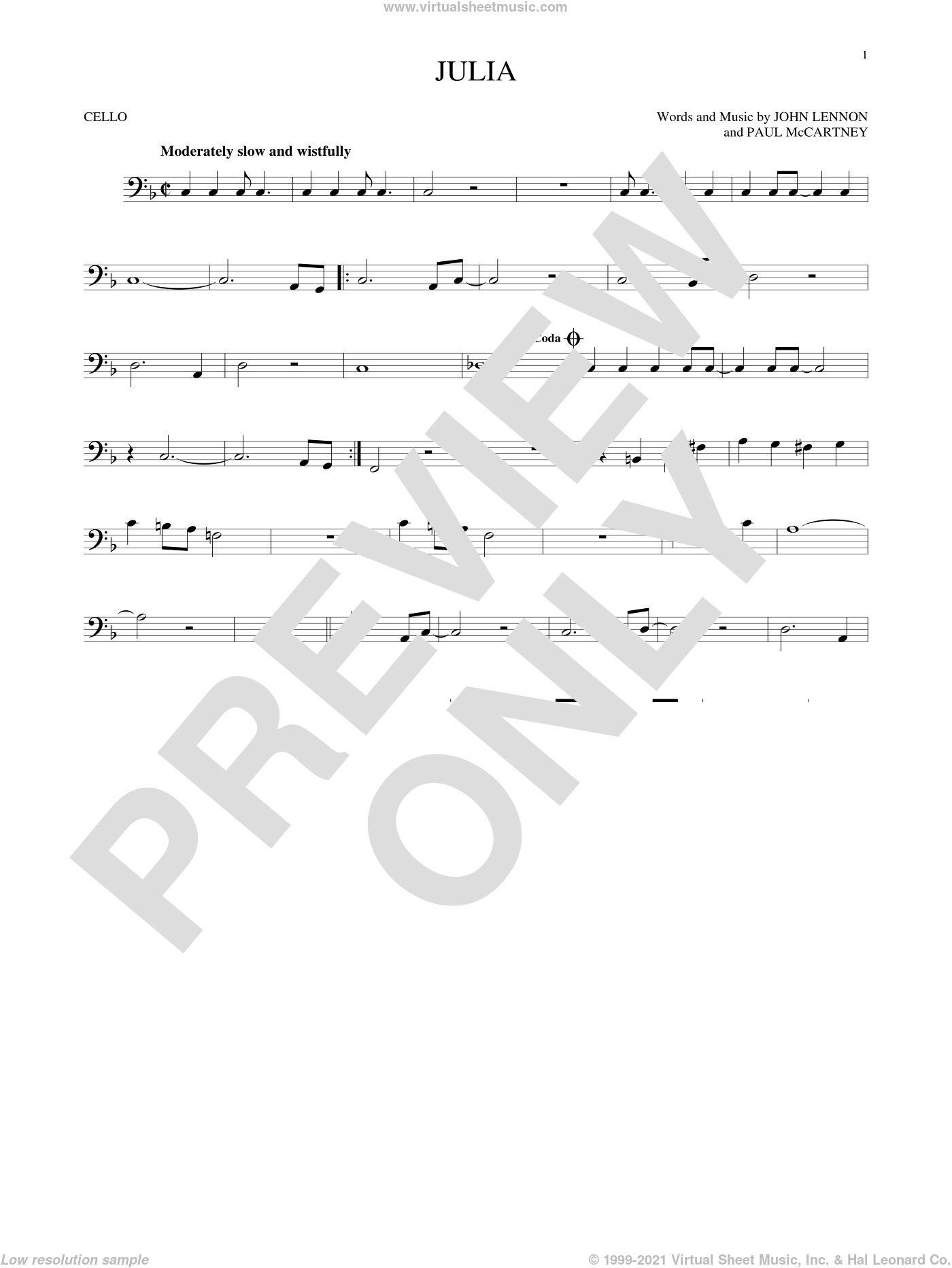 Julia sheet music for cello solo by Paul McCartney, The Beatles and John Lennon. Score Image Preview.