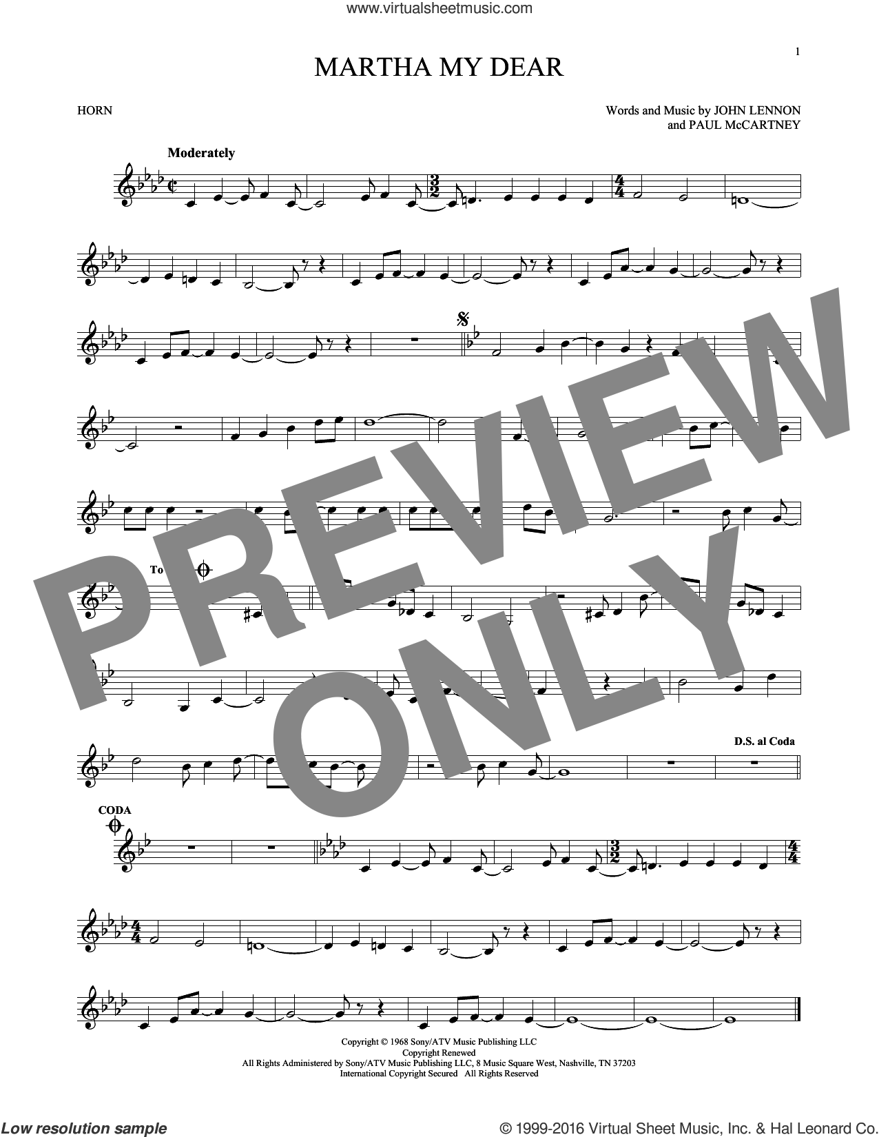Martha My Dear sheet music for horn solo by The Beatles, John Lennon and Paul McCartney, intermediate skill level